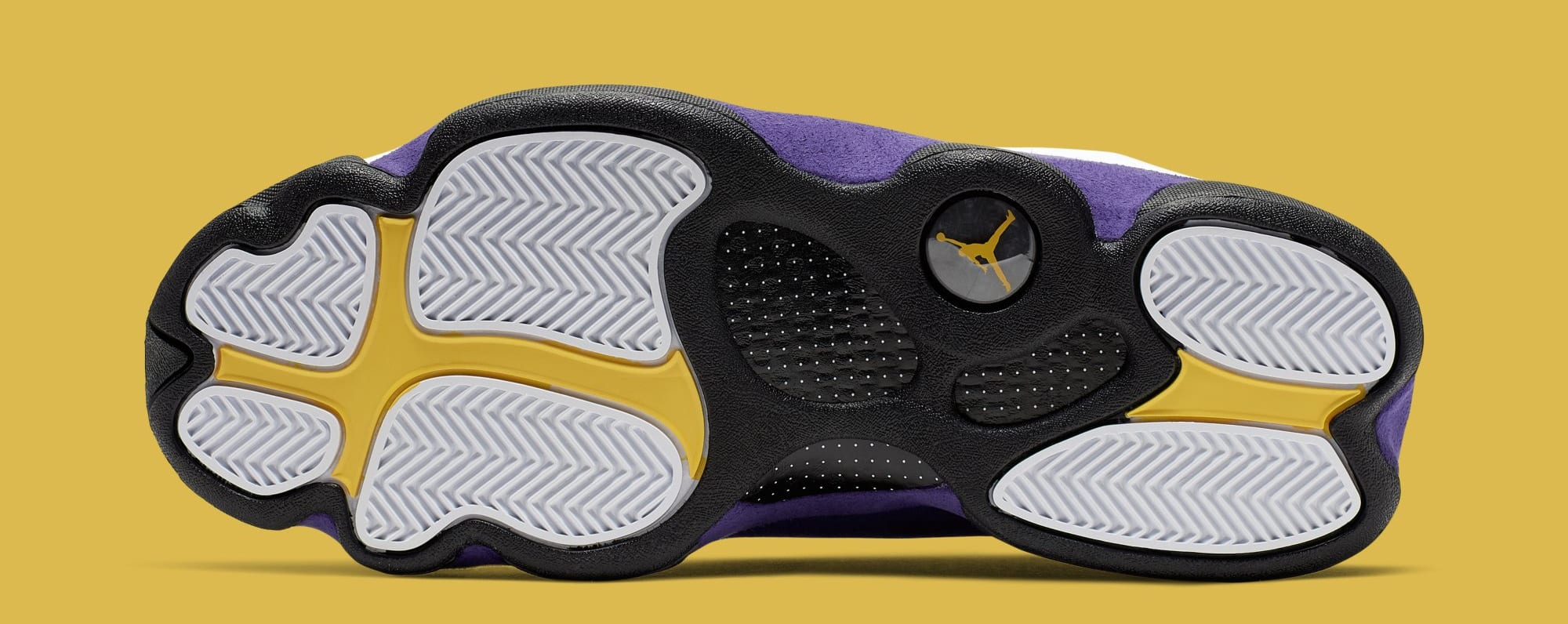 Air Jordan 13 'Lakers' White/Black/Court Purple/University Gold 414571-105 (Sole)