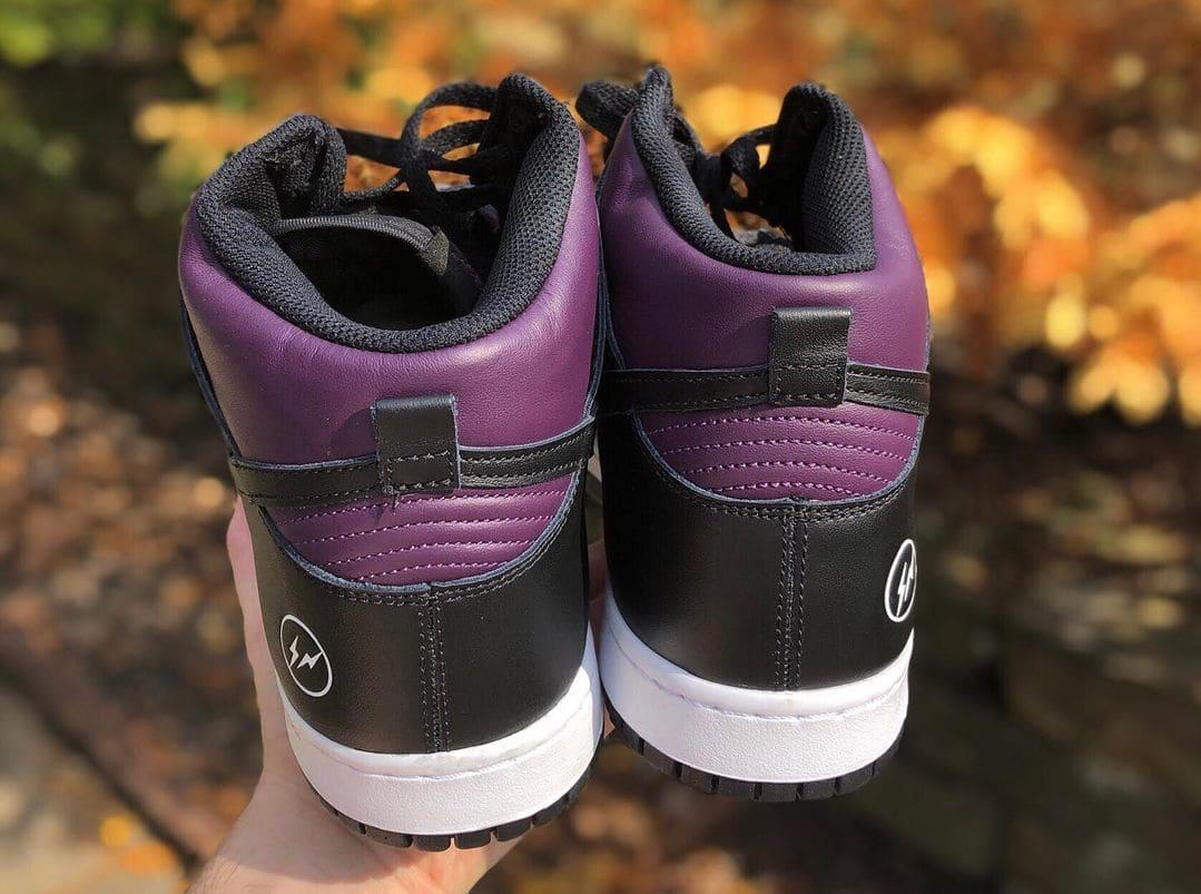 Fragment x Nike Dunk High Wine/Black/White 'Beijing' (Heel)