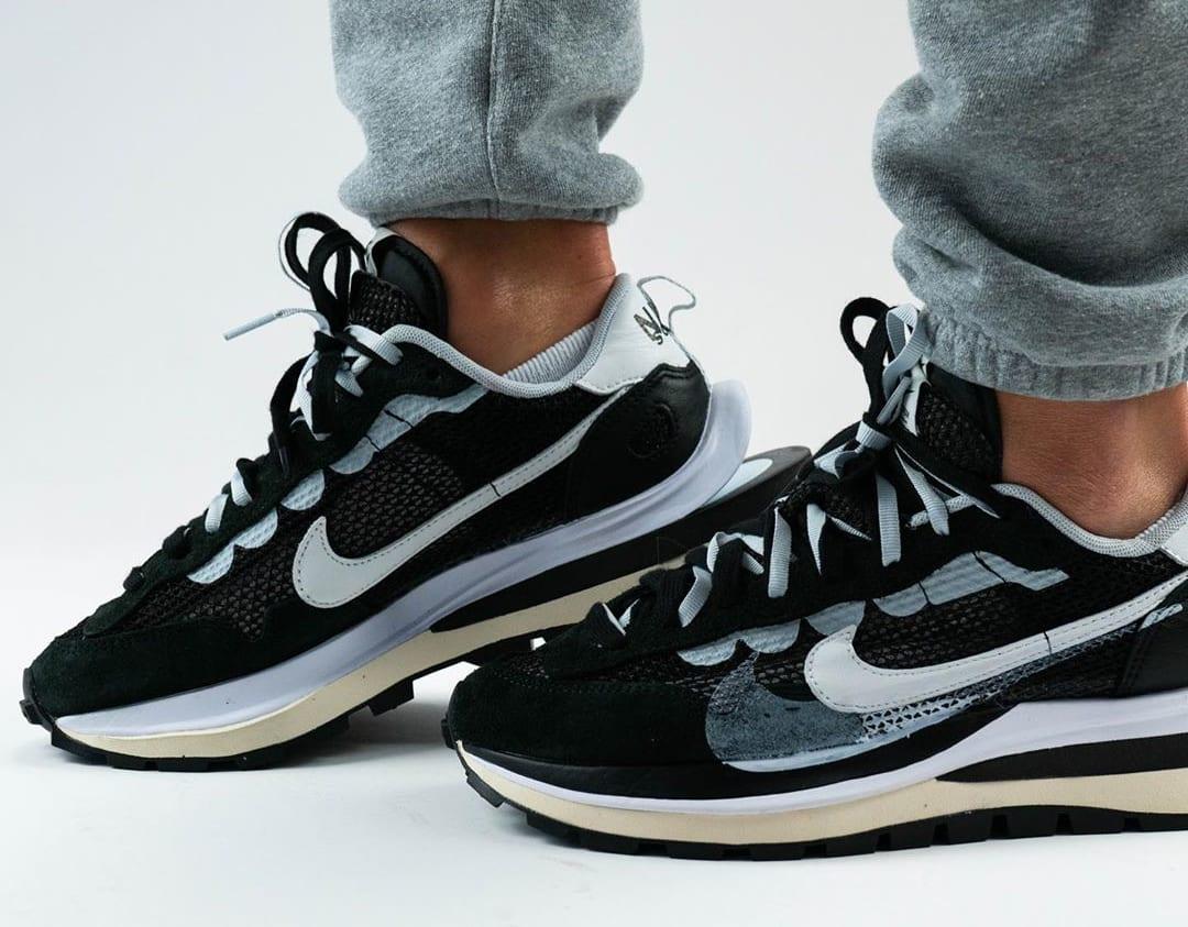 Sacai x Nike VaporWaffle Black/Summit White/Pure Platinum On-Feet Medial