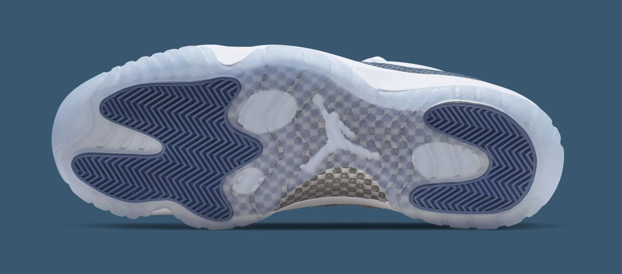 a6894e15e14b19 Image via Nike Air Jordan 11 Low  Blue Snakeskin  CD6846-102 (Bottom)
