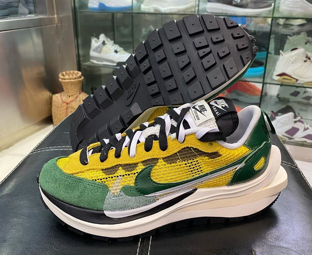 Sacai x Nike VaporWaffle Tour Yellow/Stadium Green-Sail Side