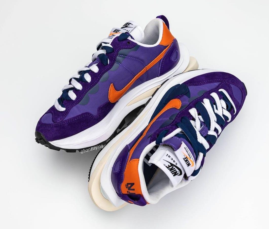 Sacai x Nike Vaporwaffle 'Dark Iris/Campfire Orange-White' Medial