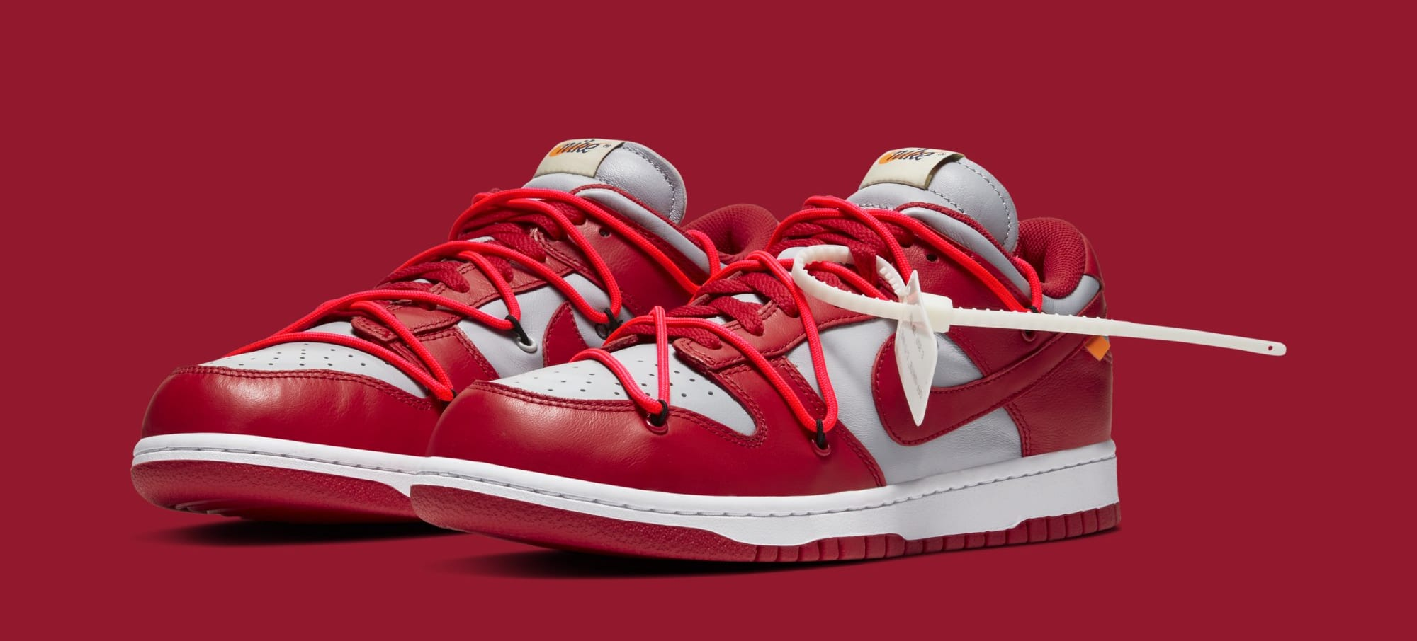 Off-White x Nike Dunk Low 'University Red/Wolf Grey' CT0856-600 (Pair)