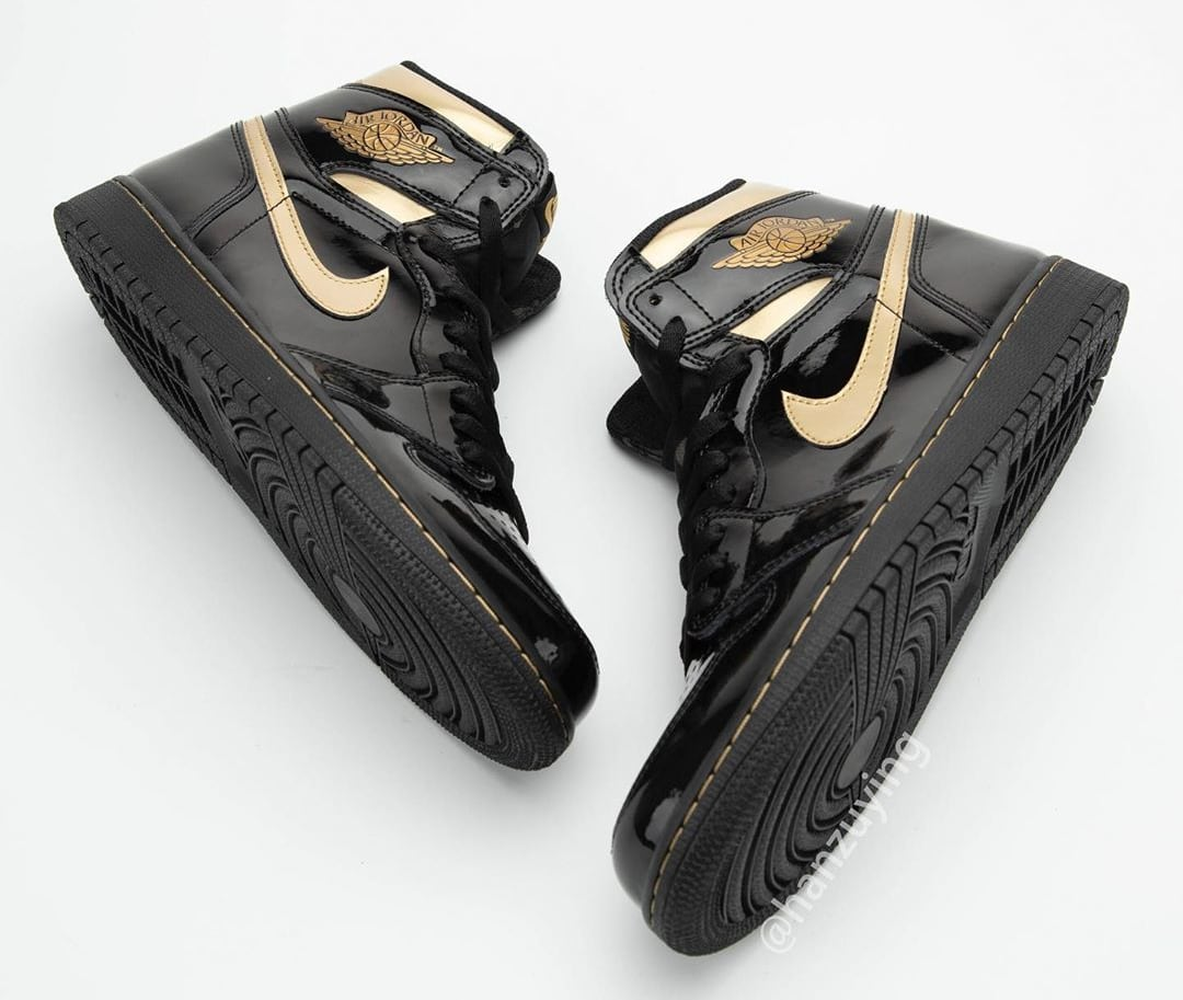 Air Jordan 1 High Black Gold Patent Release Date 555088-032 Top