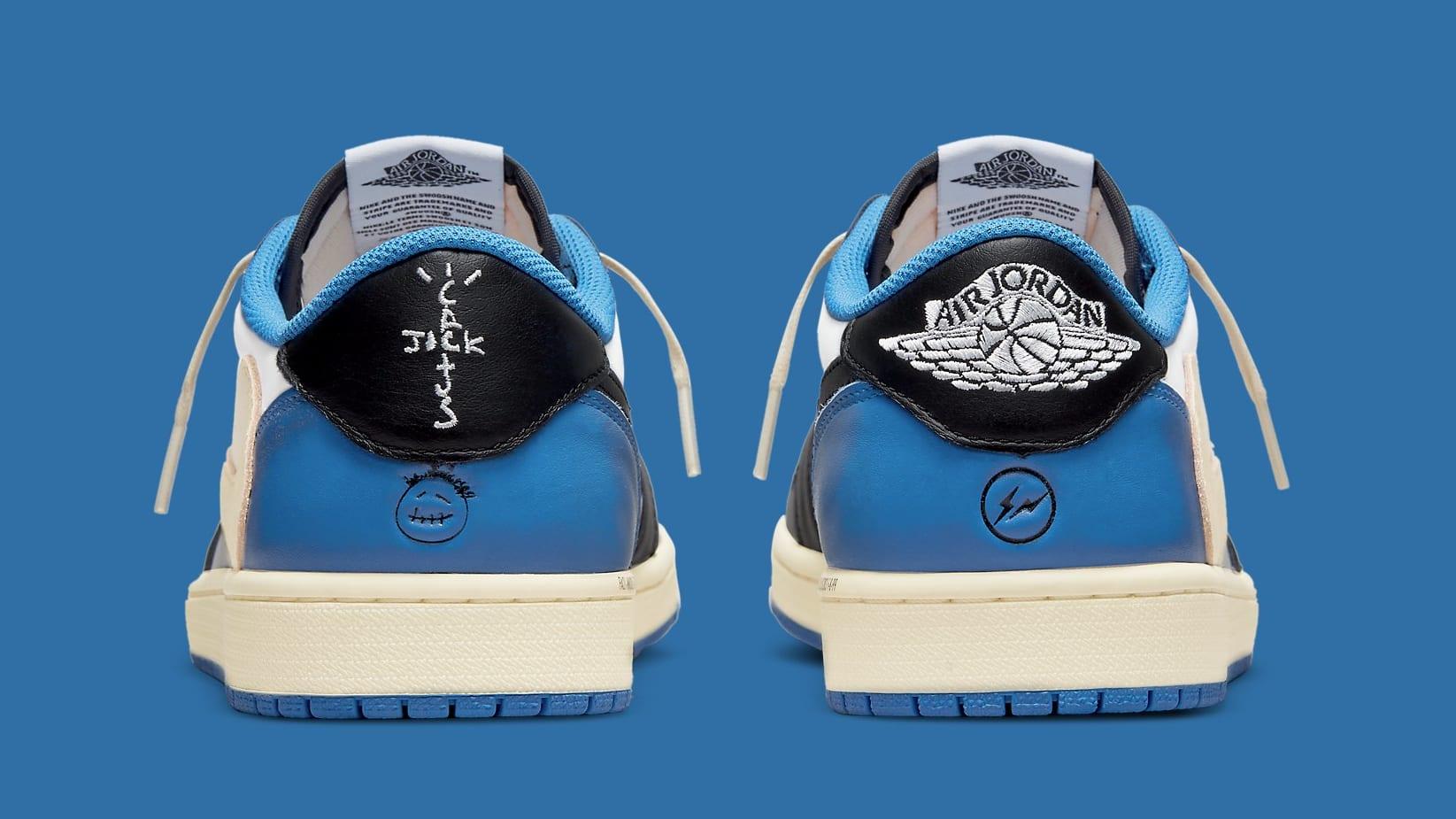 Travis Scott x Fragment x Air Jordan 1 Low Release Date DM7866-140 Heel