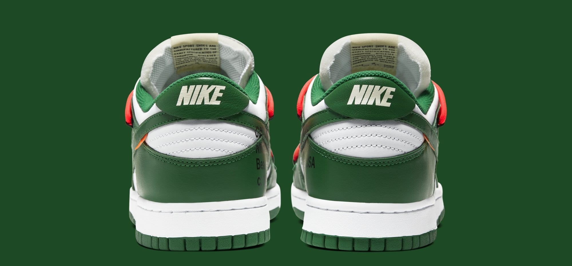Off-White x Nike Dunk Low 'White/Pine Green' CT0856-100 (Heel)