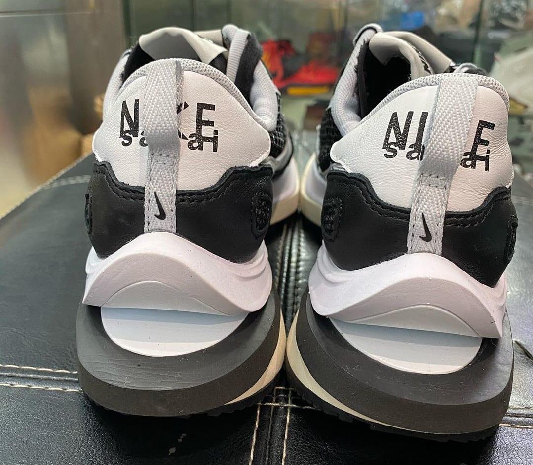 Sacai x Nike VaporWaffle Black/Summit White-Pure Platinum Heel