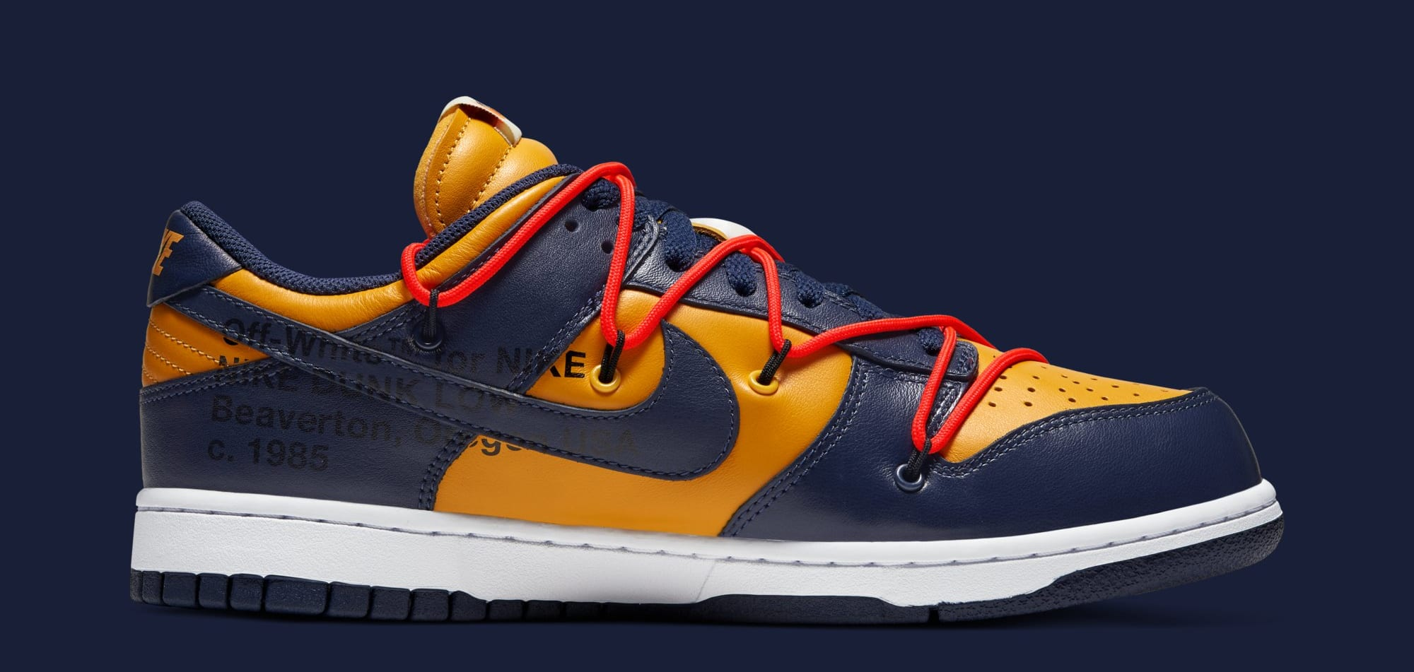 Off-White x Nike Dunk Low 'University Gold/White/Midnight Navy' CT0856-700 (Medial)