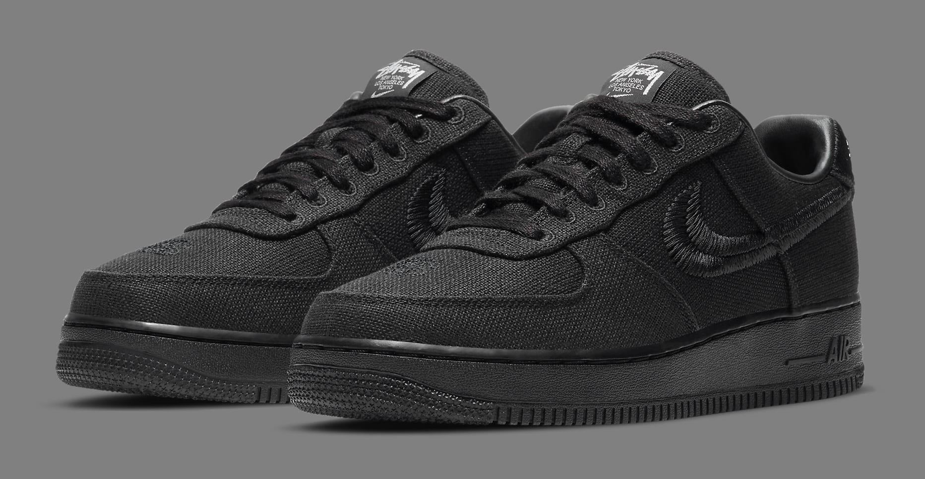 Stussy x Nike Air Force 1 Low 'Black' CZ9084-001 Pair