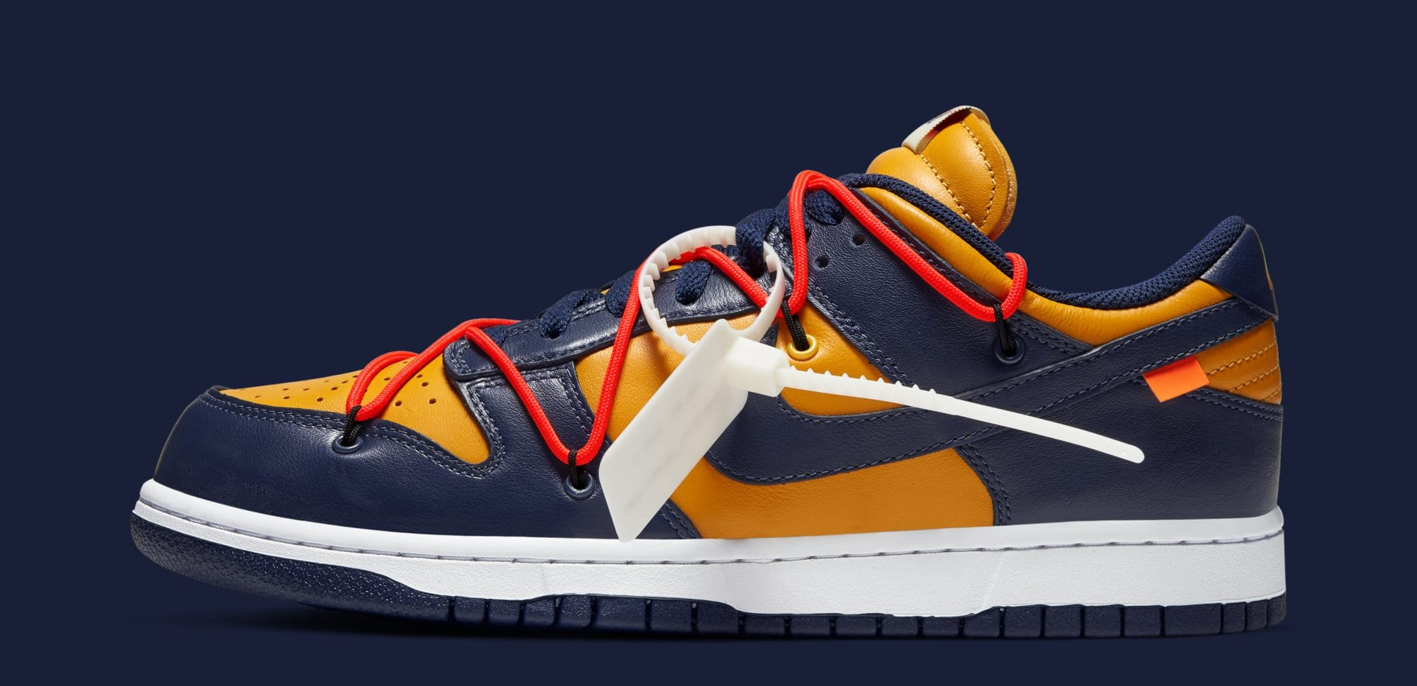 Off-White x Nike Dunk Low 'University Gold/White/Midnight Navy' CT0856-700 (Lateral)
