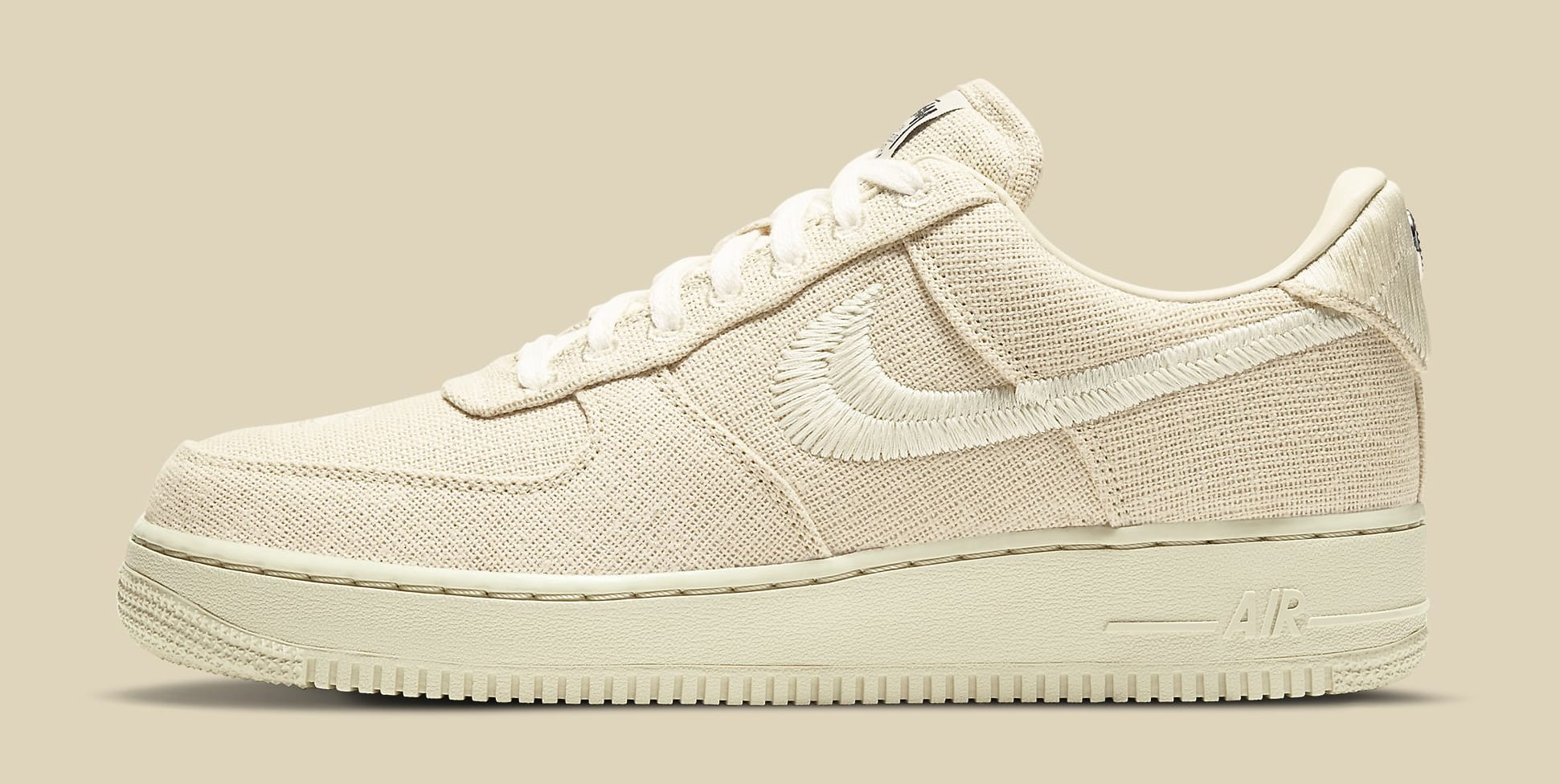 Stussy x Nike Air Force 1 Low 'Fossil Stone' CZ9084-200 Lateral