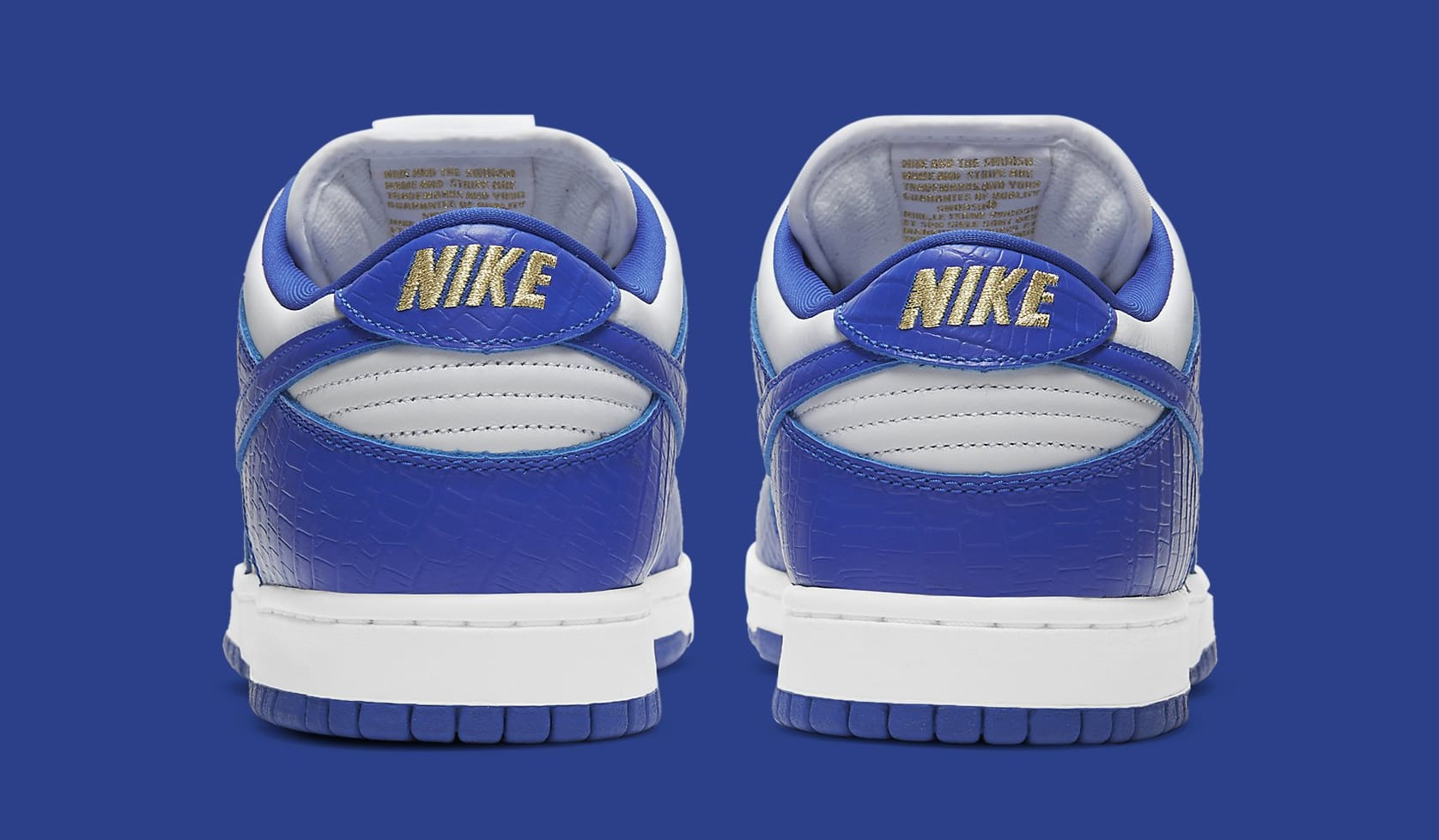 Supreme x Nike SB Dunk Low 'Hyper Royal' DH3228-100 Heel