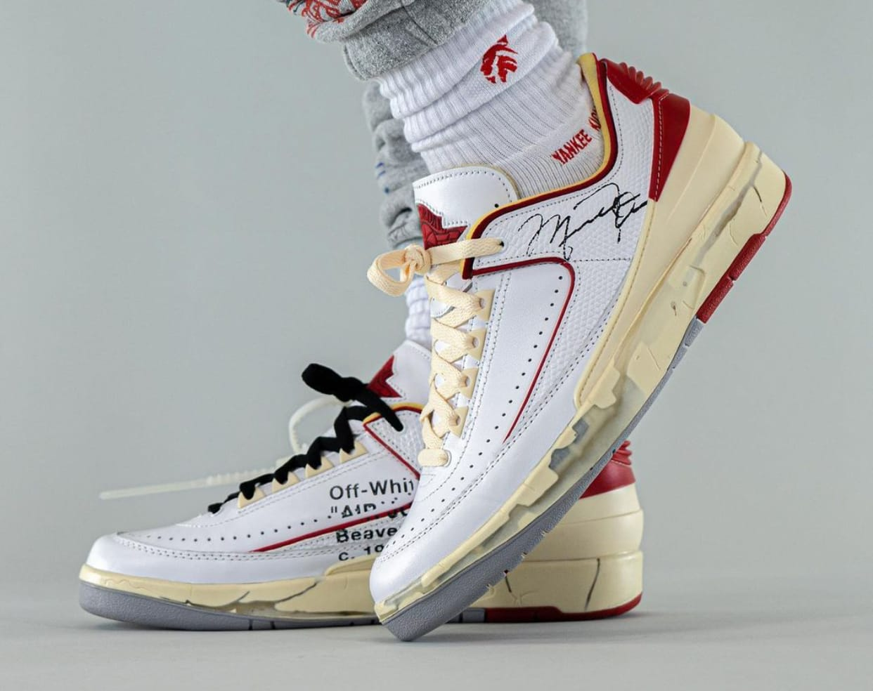 Off-White x Air Jordan 2 Low DJ4375-106 lateral on foot