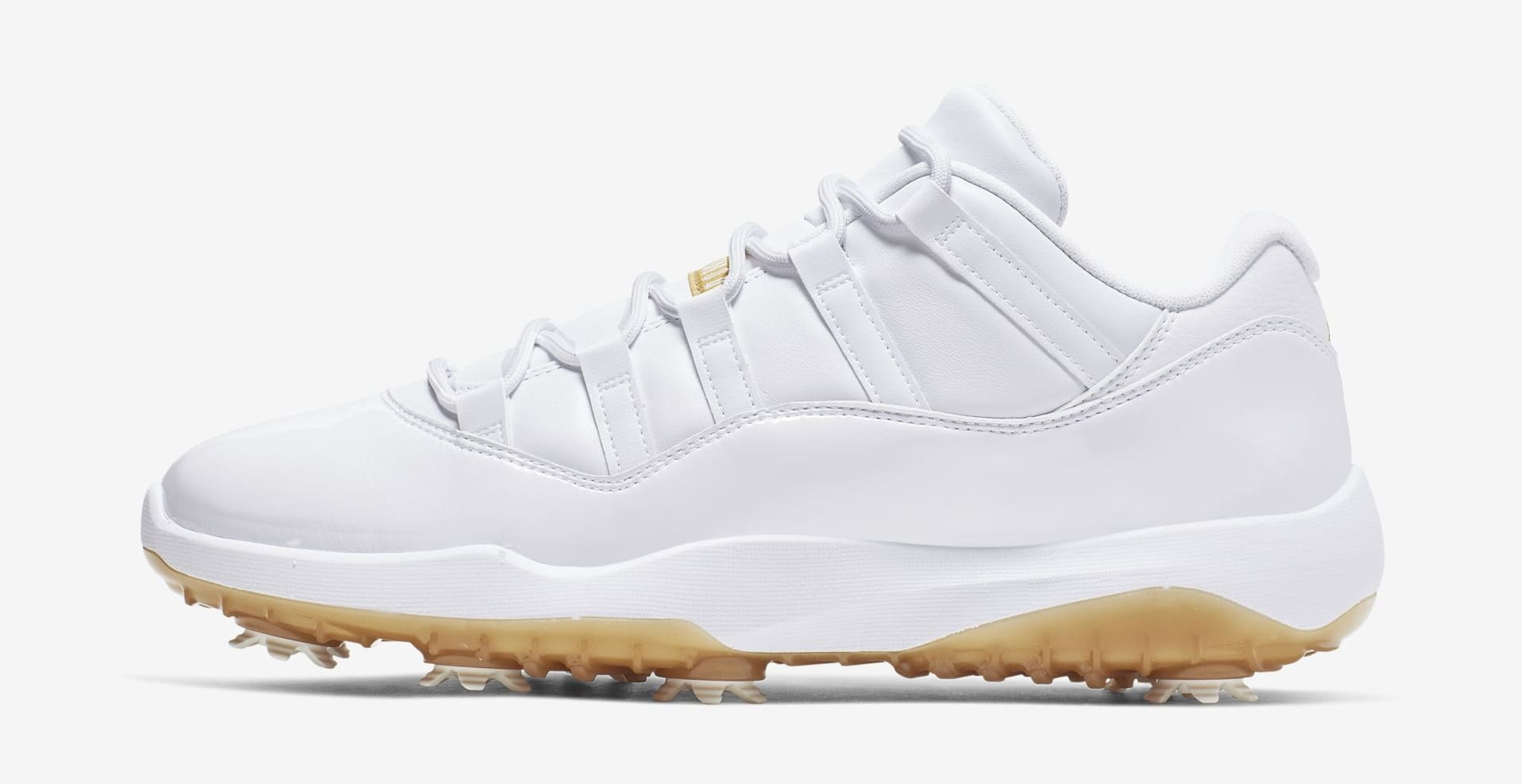 Air Jordan 11 Low Golf 'White/Metallic Gold' (Lateral)