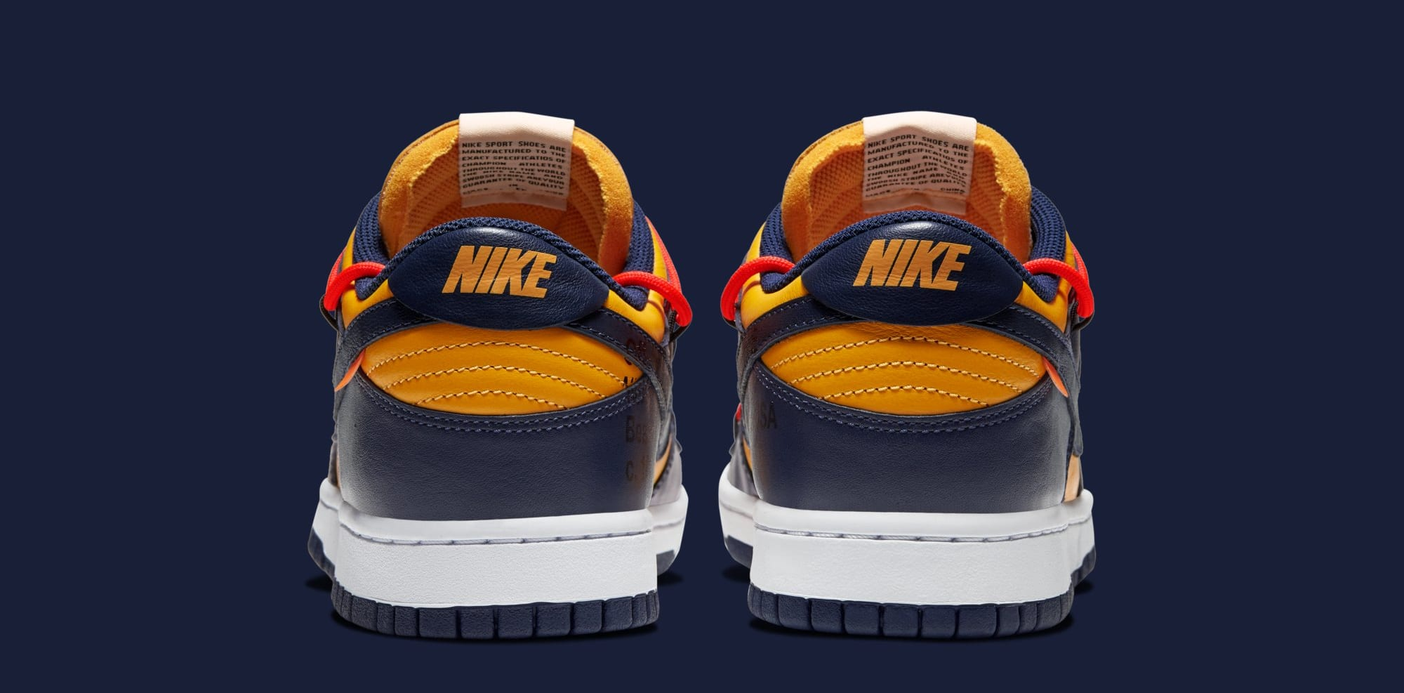 Off-White x Nike Dunk Low 'University Gold/White/Midnight Navy' CT0856-700 (Heel)