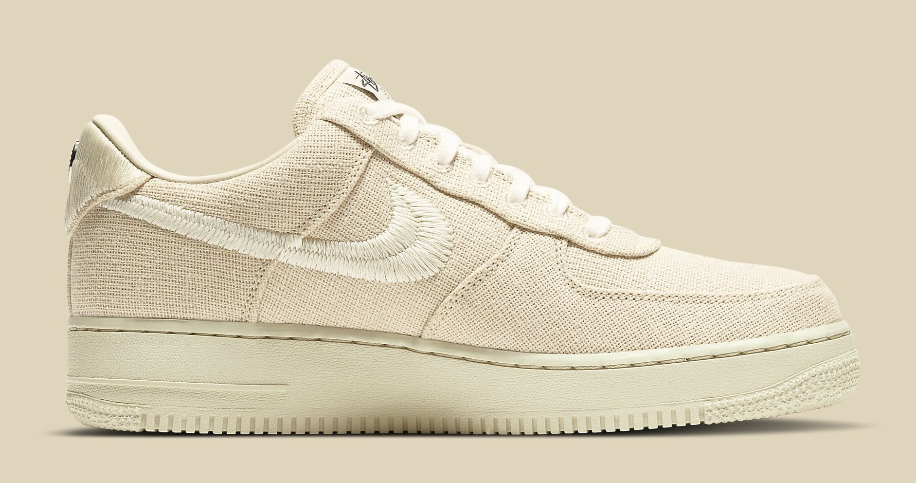 Stussy x Nike Air Force 1 Low 'Fossil Stone' CZ9084-200 Medial