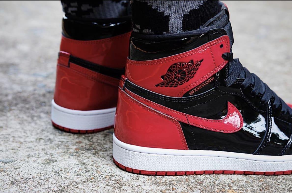 Air Jordan 1 Patent Bred Release Date On-Foot 555088-063 Back