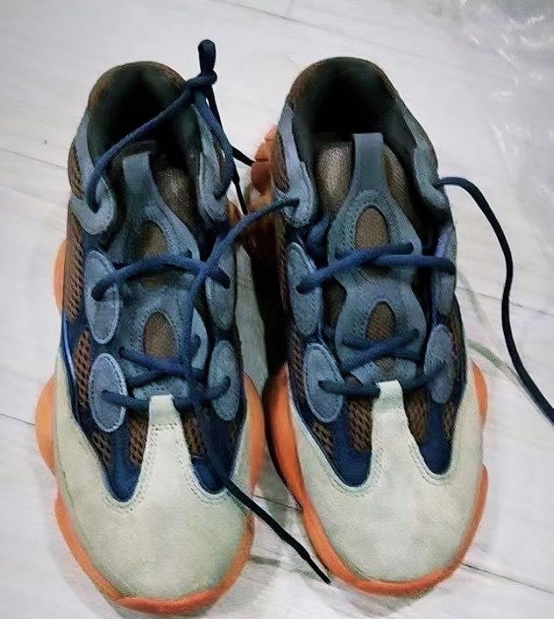 Adidas Yeezy 500 Brown Blue Orange Release Date Toe