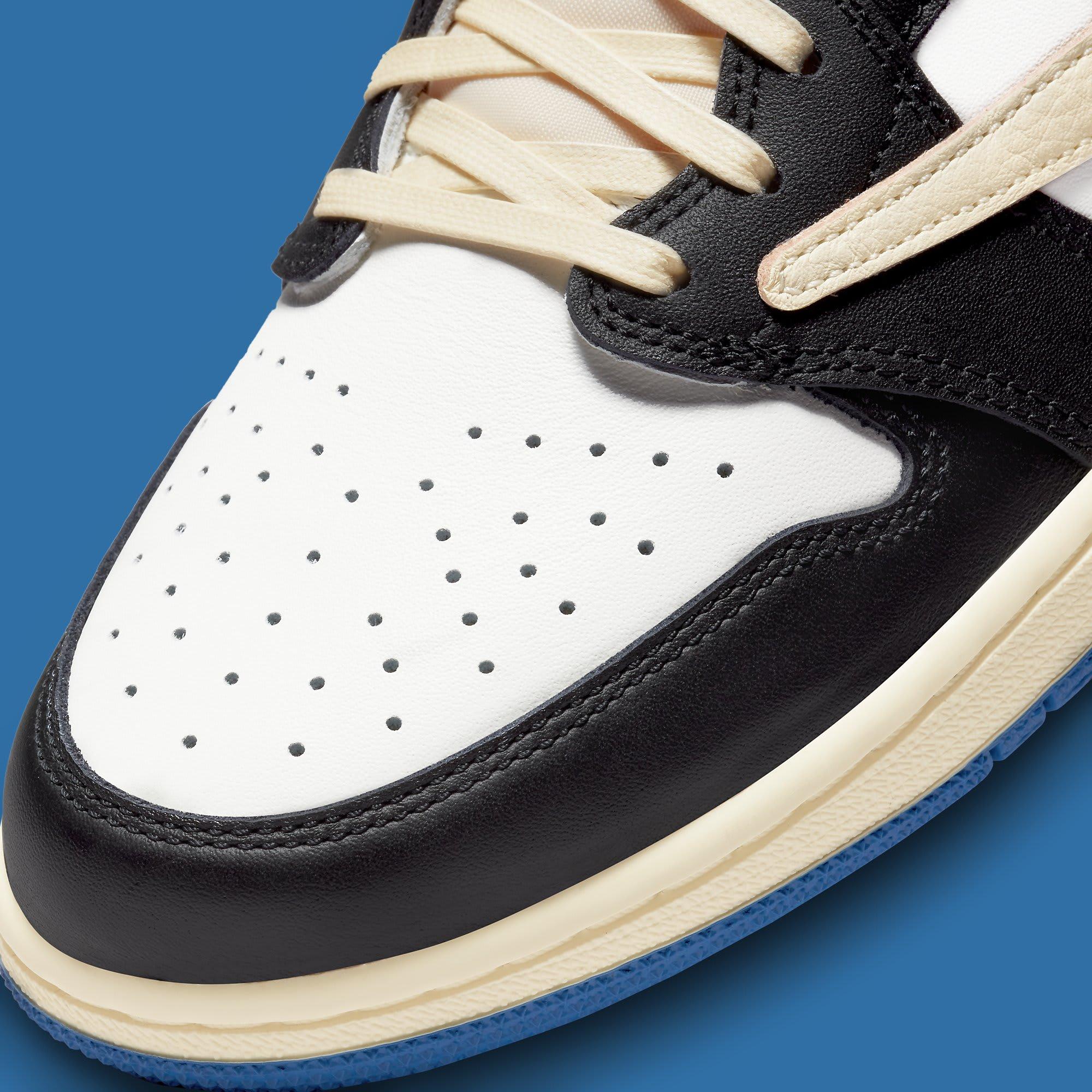 Travis Scott x Fragment x Air Jordan 1 Low Release Date DM7866-140 Toe
