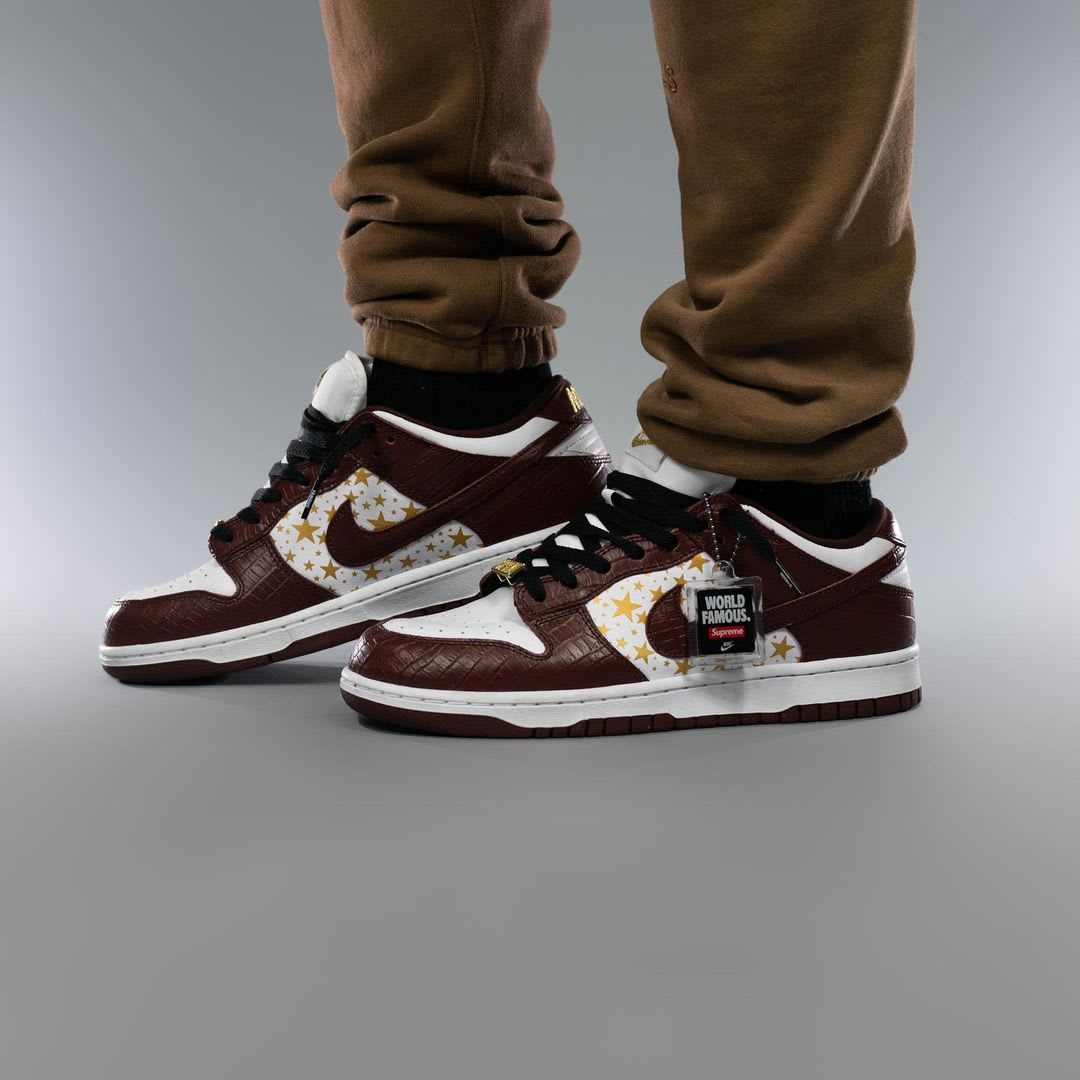 Supreme x Nike SB Dunk Low Brown On-Foot Right Medial
