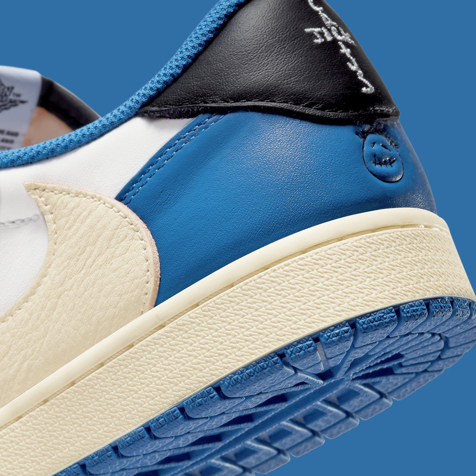 Travis Scott x Fragment x Air Jordan 1 Low Release Date DM7866-140 Heel Detail