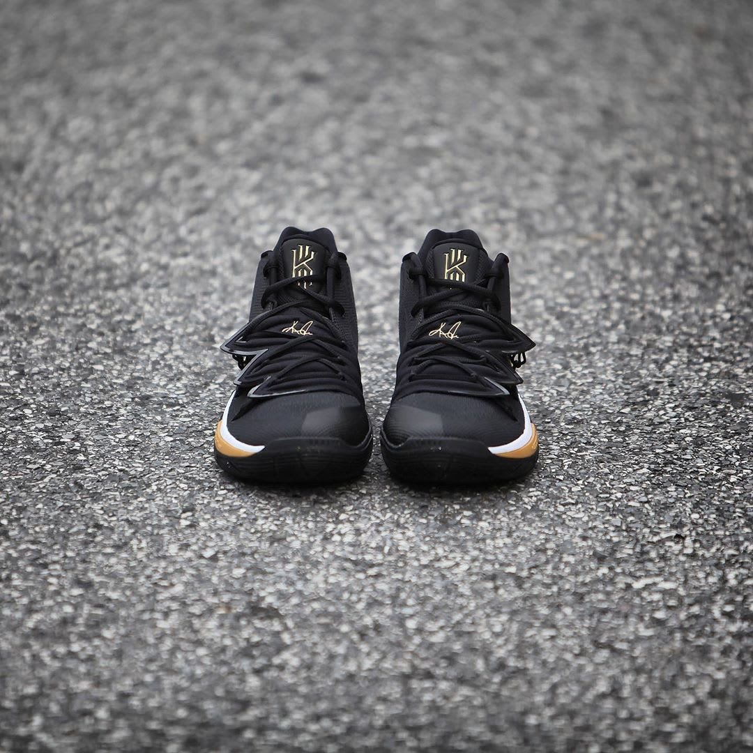 Nike Kyrie 5 Black Metallic Gold White Release Date AO2918-007 Front
