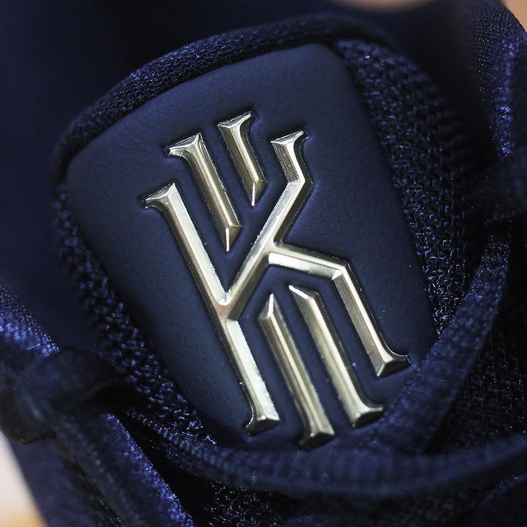 Nike Kyrie 5 Black Metallic Gold White Release Date AO2918-007 Tongue Logo