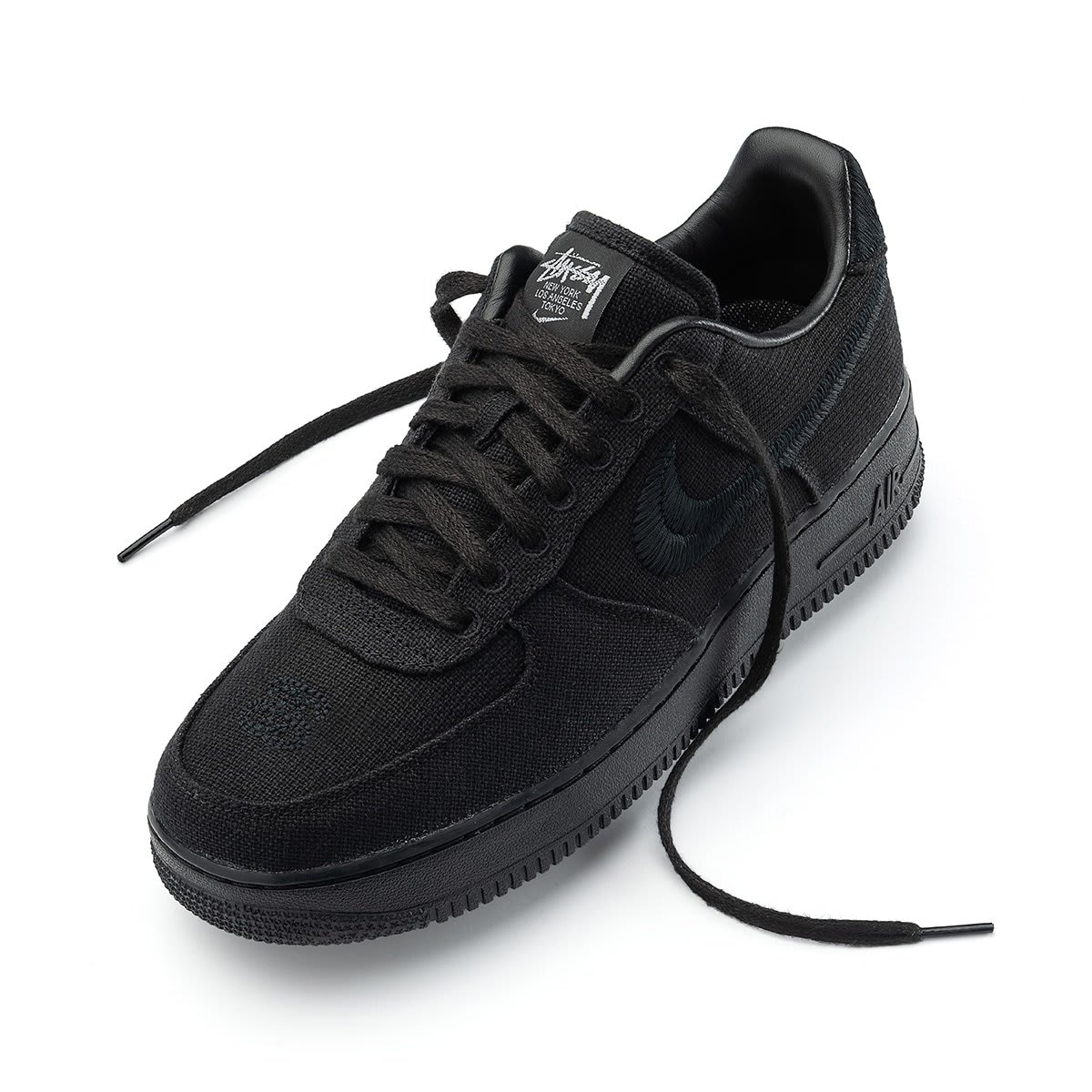 Stussy x Nike Air Force 1 Low 'Black' Front
