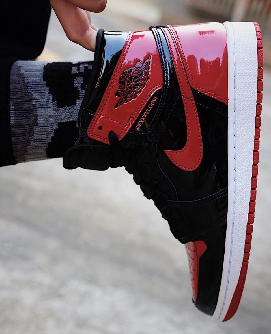 Air Jordan 1 Patent Bred Release Date On-Foot 555088-063 Heel