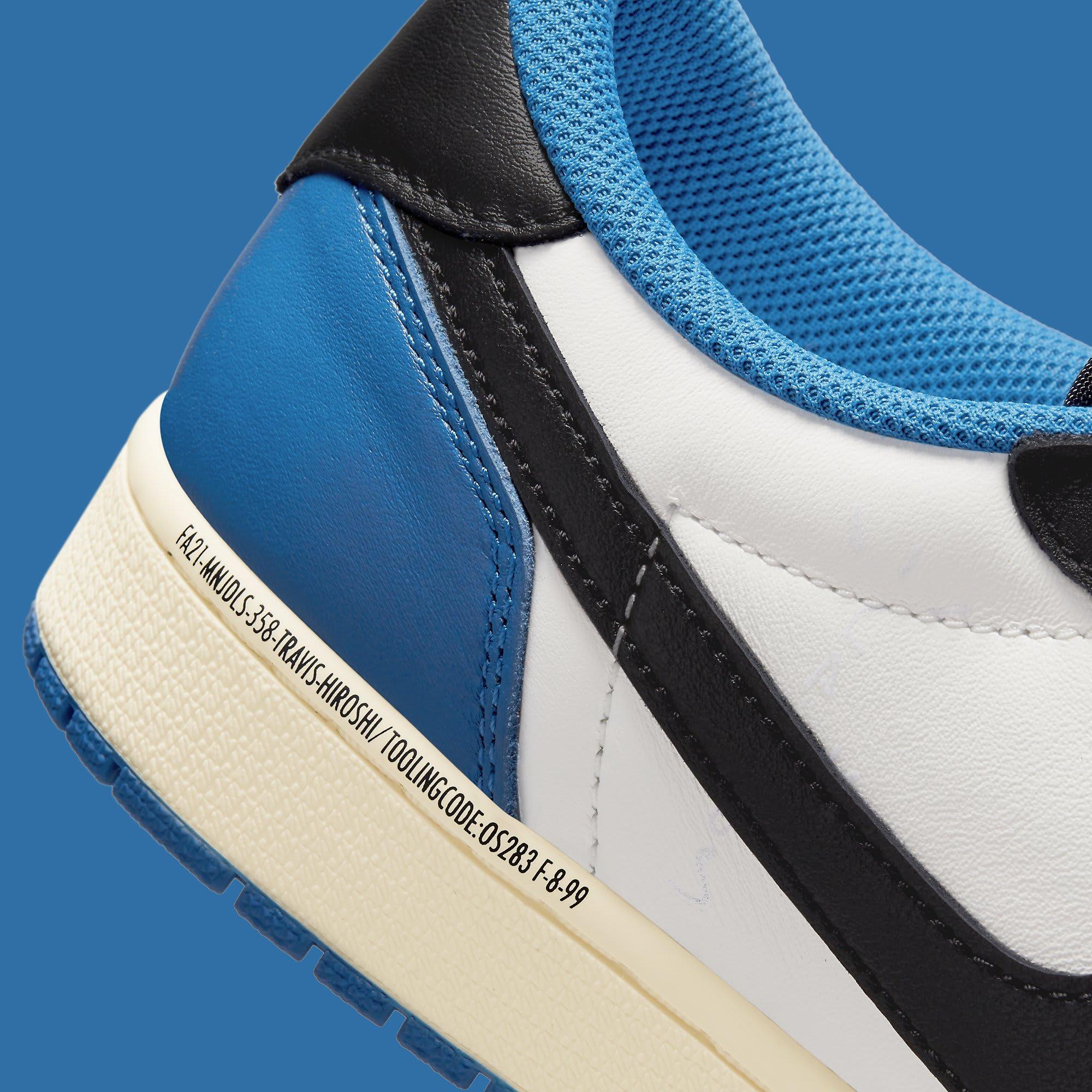 Travis Scott x Fragment x Air Jordan 1 Low Release Date DM7866-140 Medial Detail