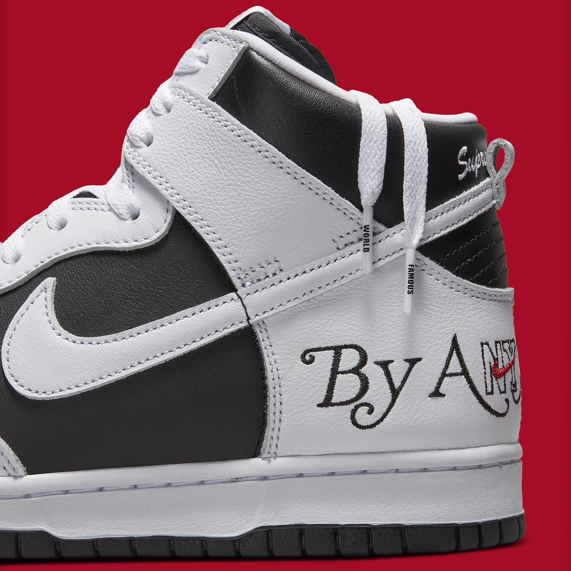 Supreme x Nike SB Dunk High White/Black DN3741-002 Side