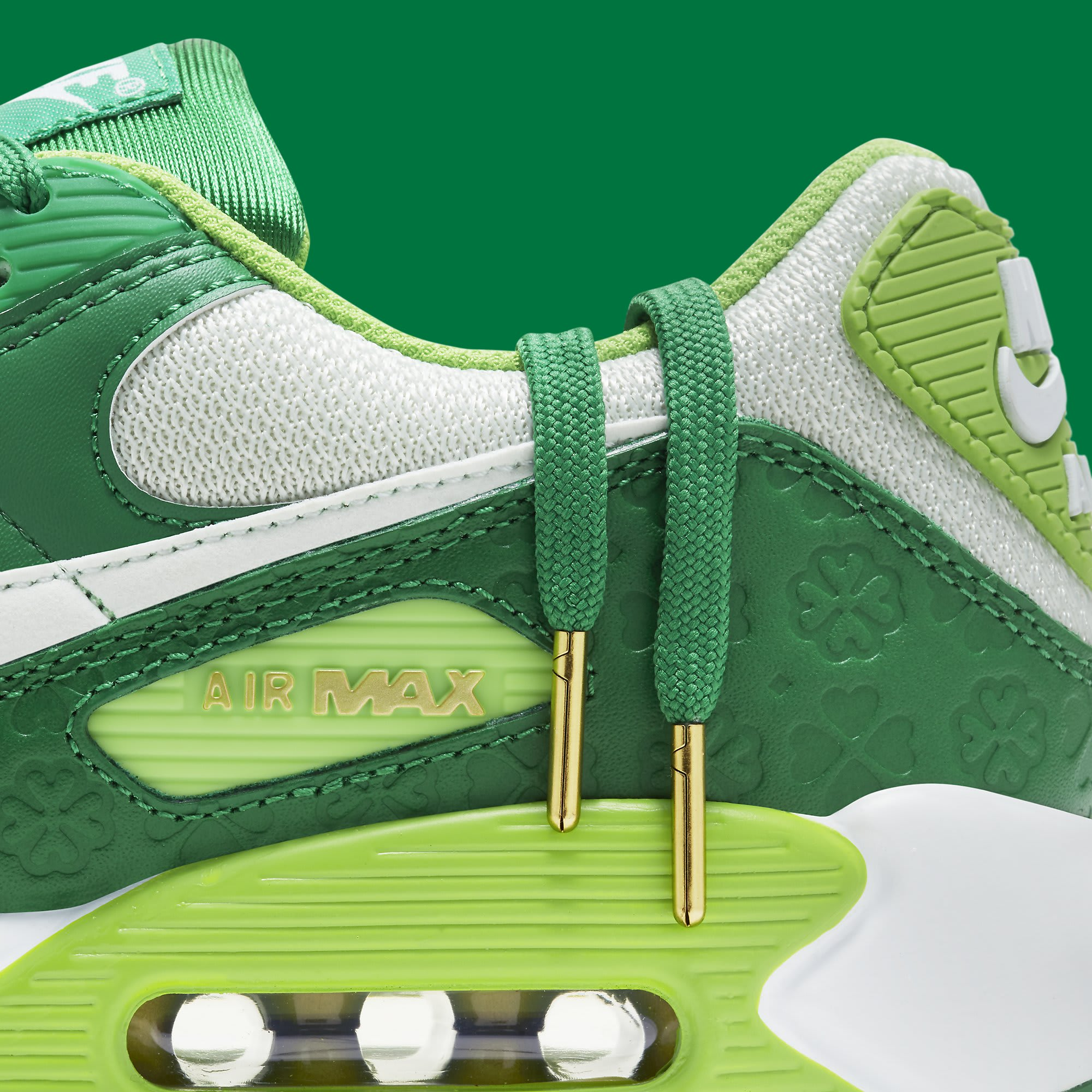 Nike Air Max 90 St. Patrick's Day Release Date DD8555-300 Lace Detail