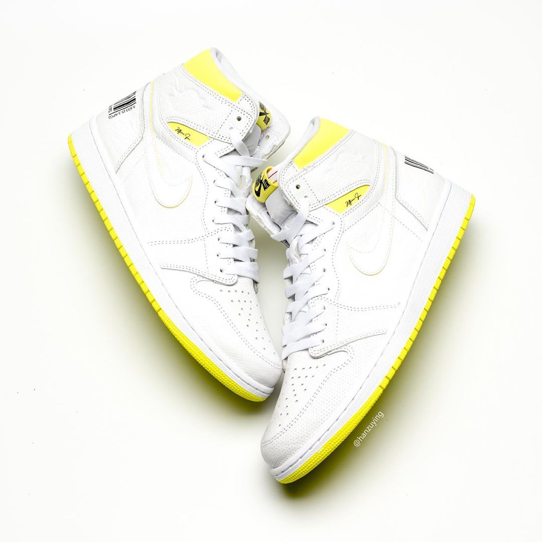 new style 9773d 2142c Air Jordan 1 'First Class Flight' White/Dynamic Yellow-Black 55088 ...