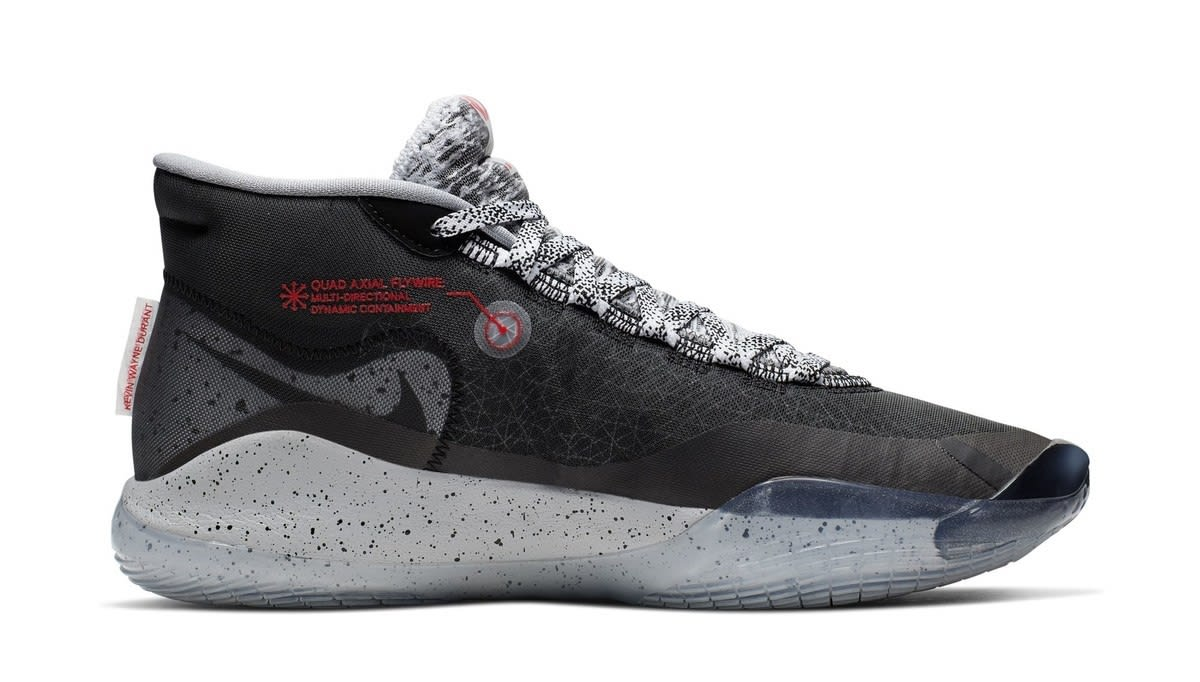 Nike Zoom KD 12 'Black/Cement Grey-University Red' (Medial)