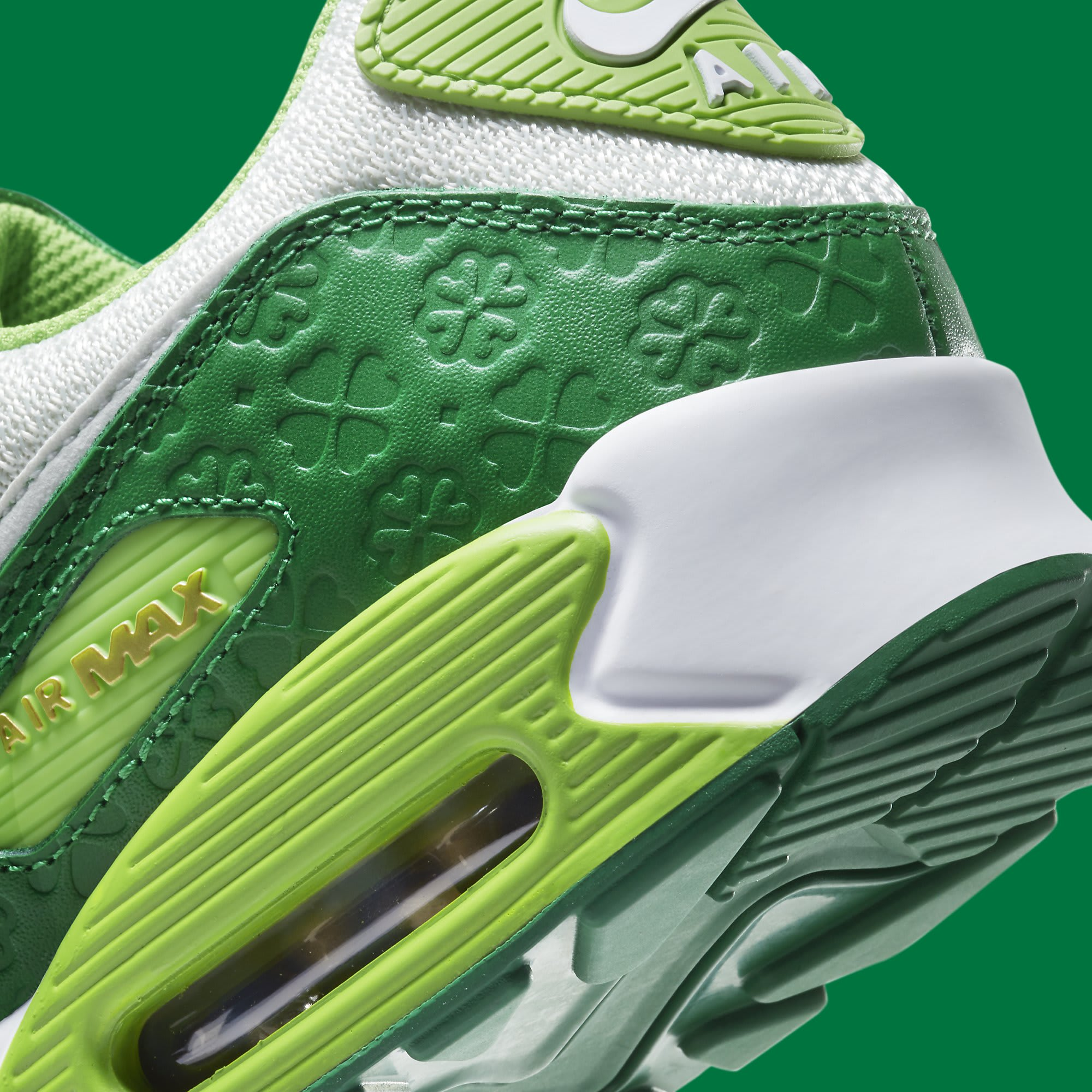 Nike Air Max 90 St. Patrick's Day Release Date DD8555-300 Heel Detail