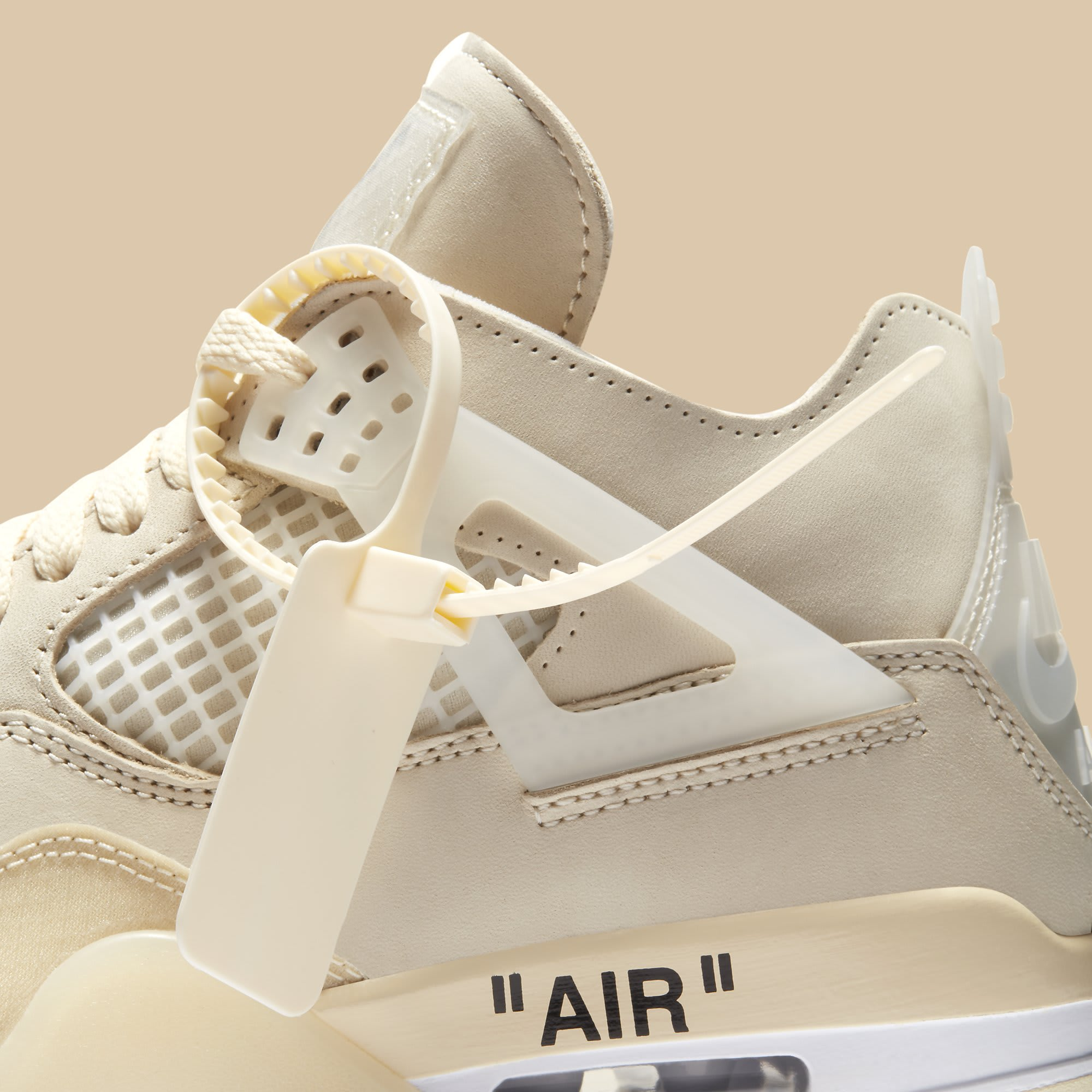 Off-White x Air Jordan 4 Sail Release Date CV9388-100 Zip Tie