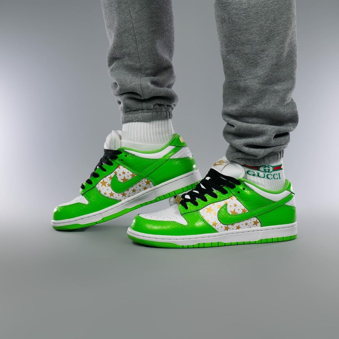 Supreme x Nike SB Dunk Low Green On-Foot Right Medial