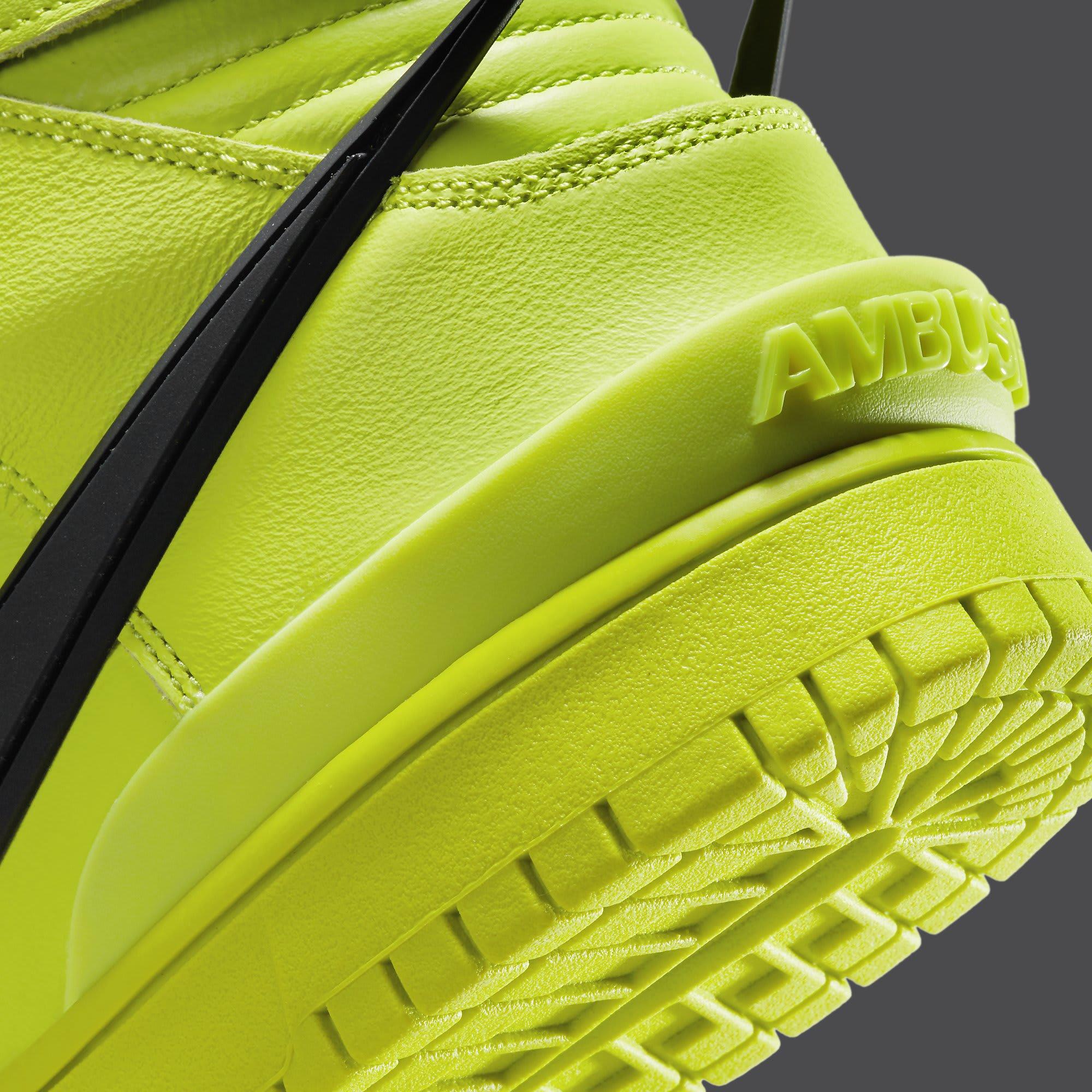 Ambush x Nike Dunk High Atomic Green Release Date CU7544-300 Heel Detail