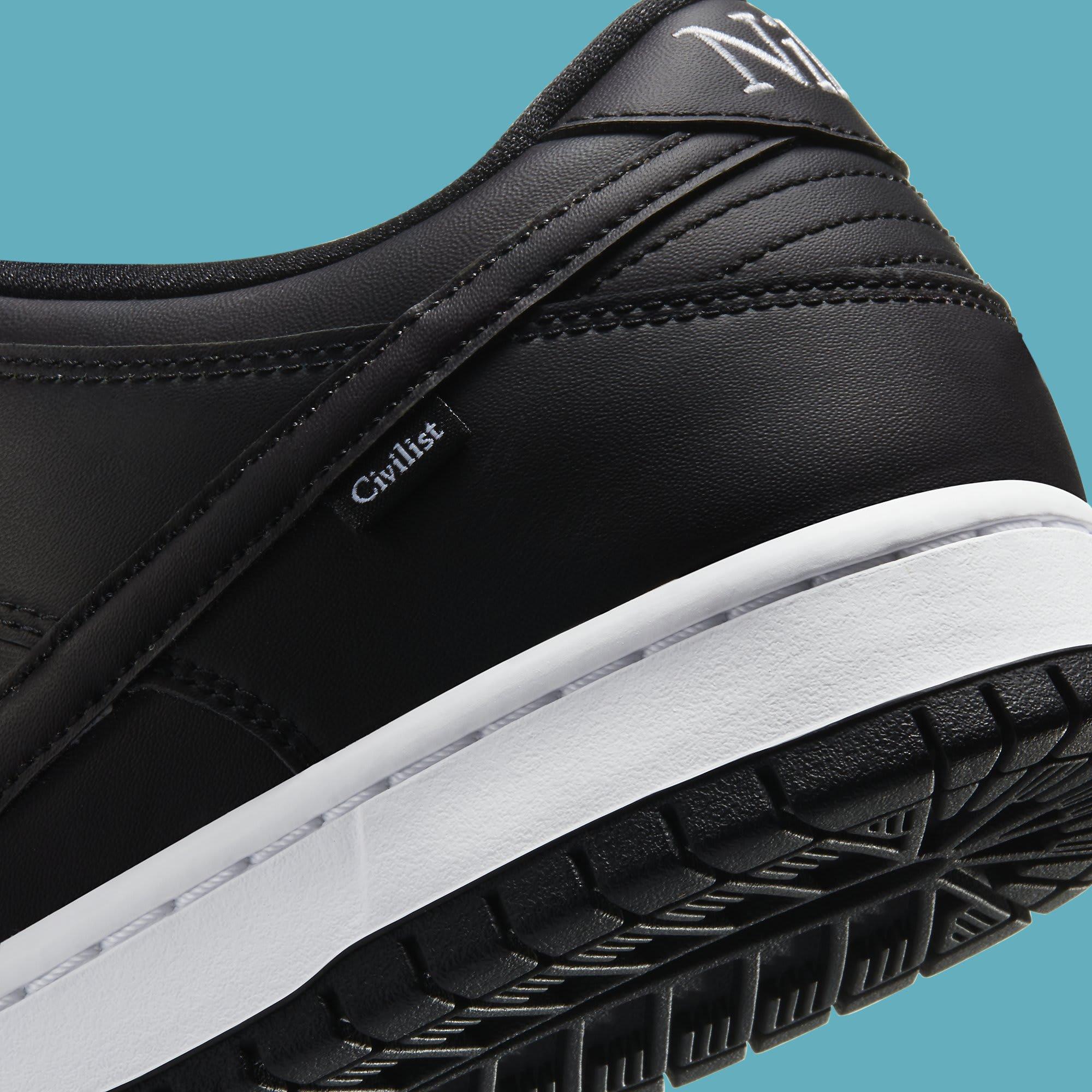 Civilist x Nike SB Dunk Low Heat Map Release Date CZ5123-001 Heel Detail