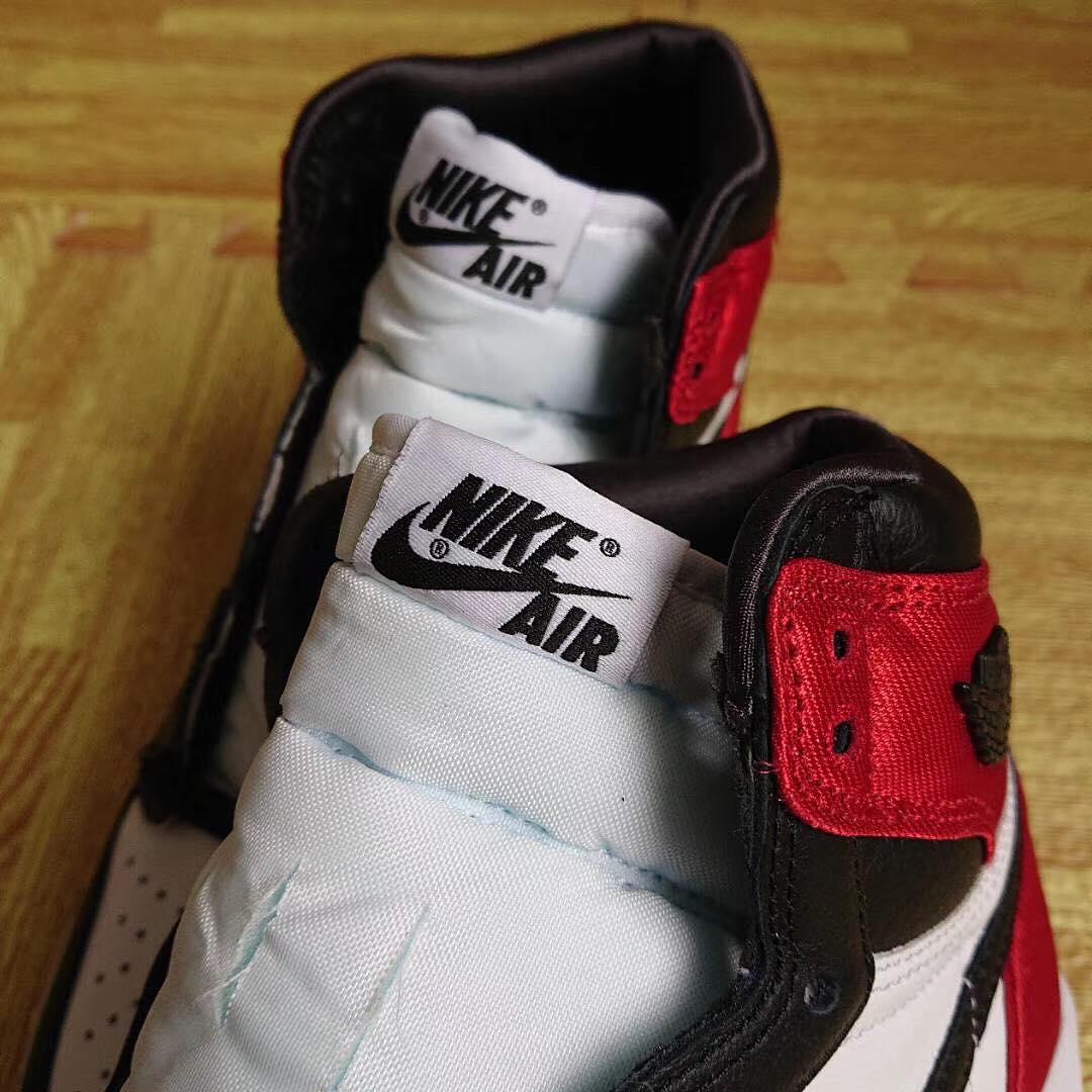 WMNS Air Jordan 1 'Satin Black Toe' (Tongue)