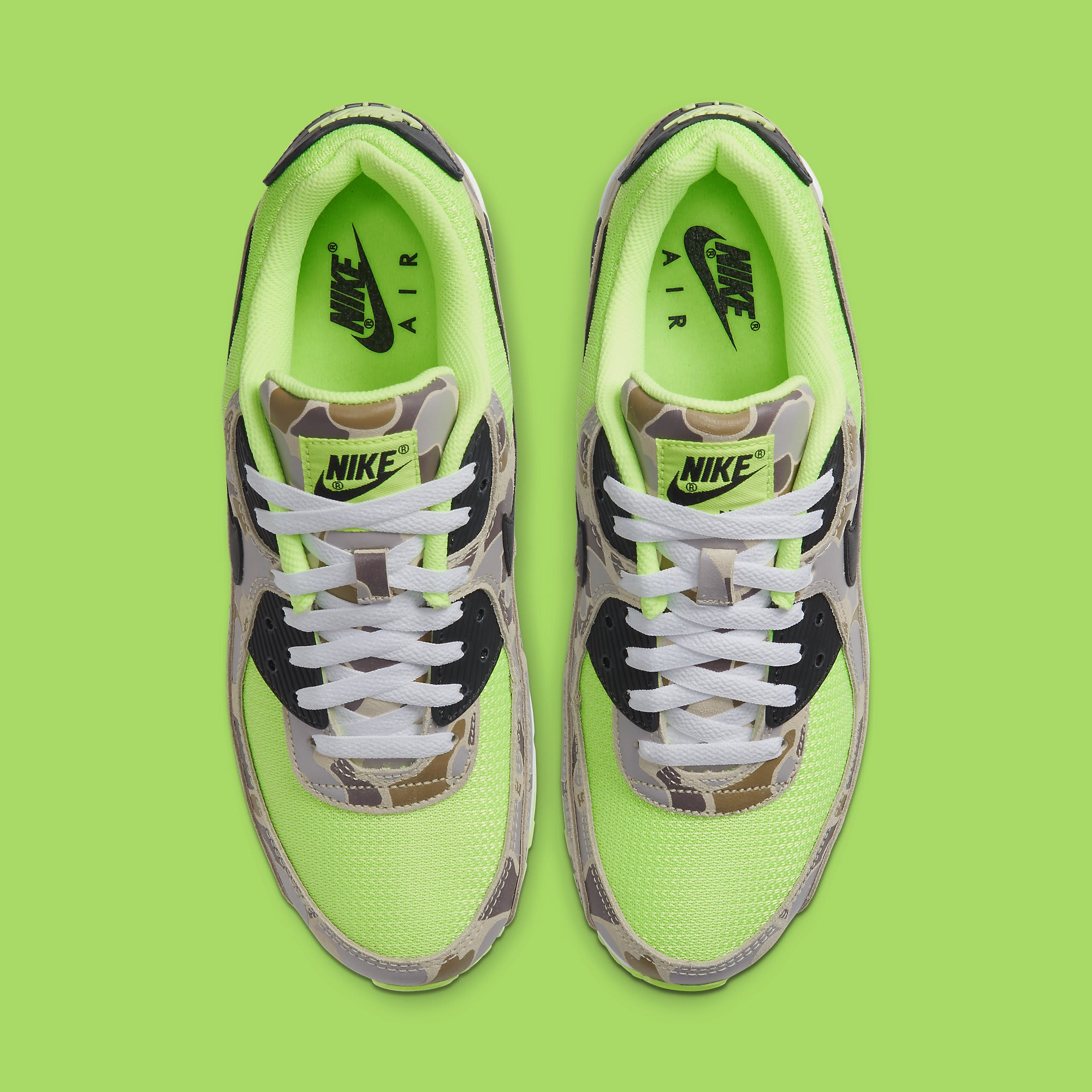 Nike Air Max 90 Volt Duck Camo Ghost Green Release Date CW4039-300 Top