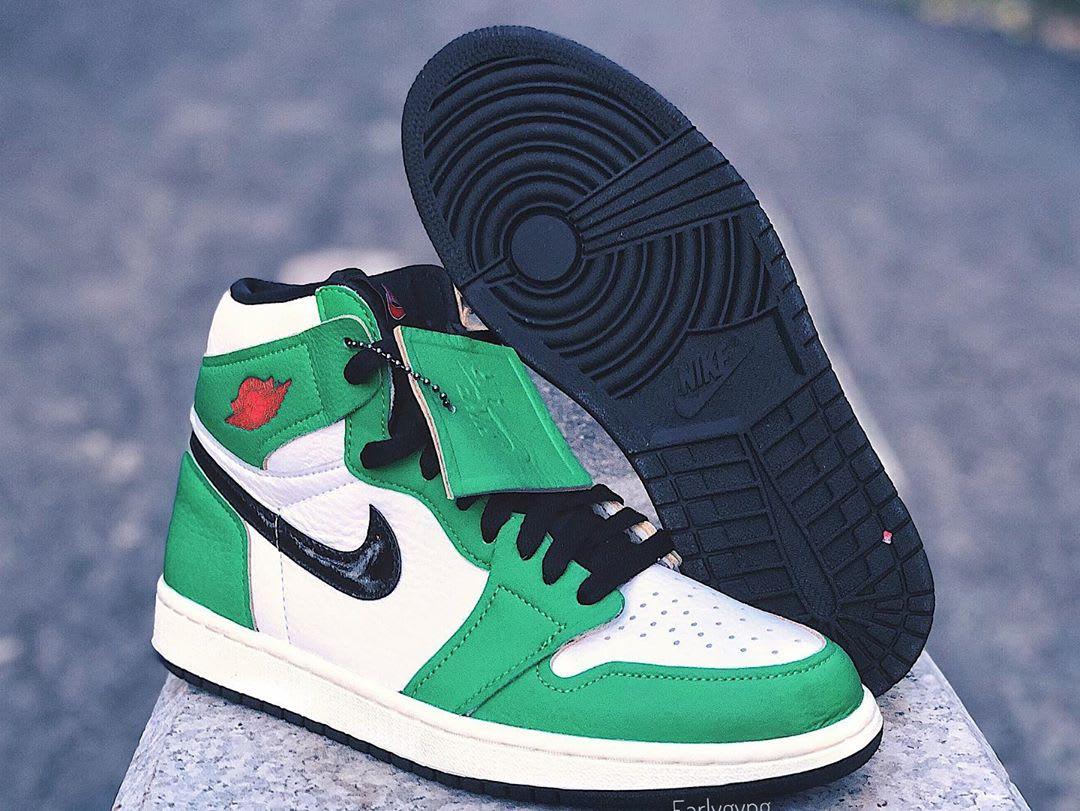 Air Jordan 1 Women's Lucky Green Release Date DB4612-300 Sole Left