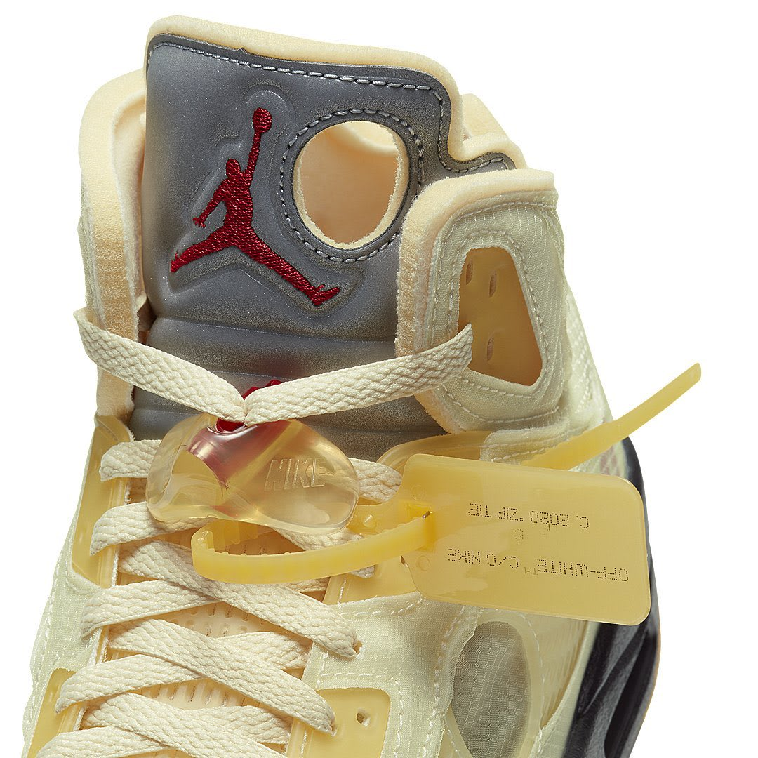 Off-White x Air Jordan 5 'Sail/Fire Red/Muslin/Black' (Tongue Detail)