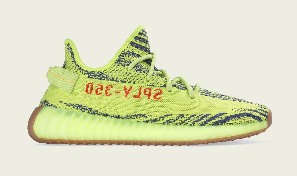 Semi Frozen Yellow Adidas Yeezy Boost 350 V2 Profile
