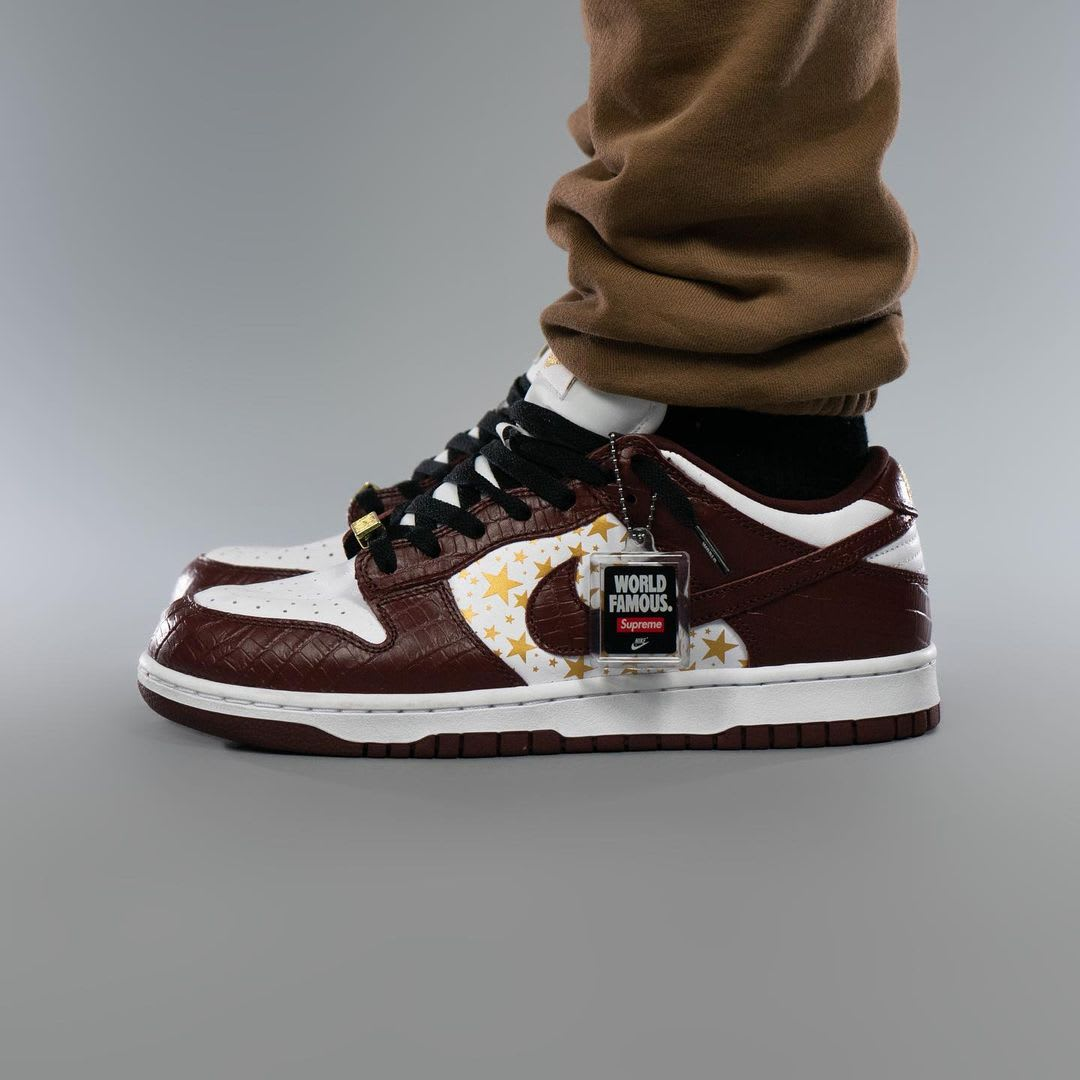 Supreme x Nike SB Dunk Low Brown On-Foot Left
