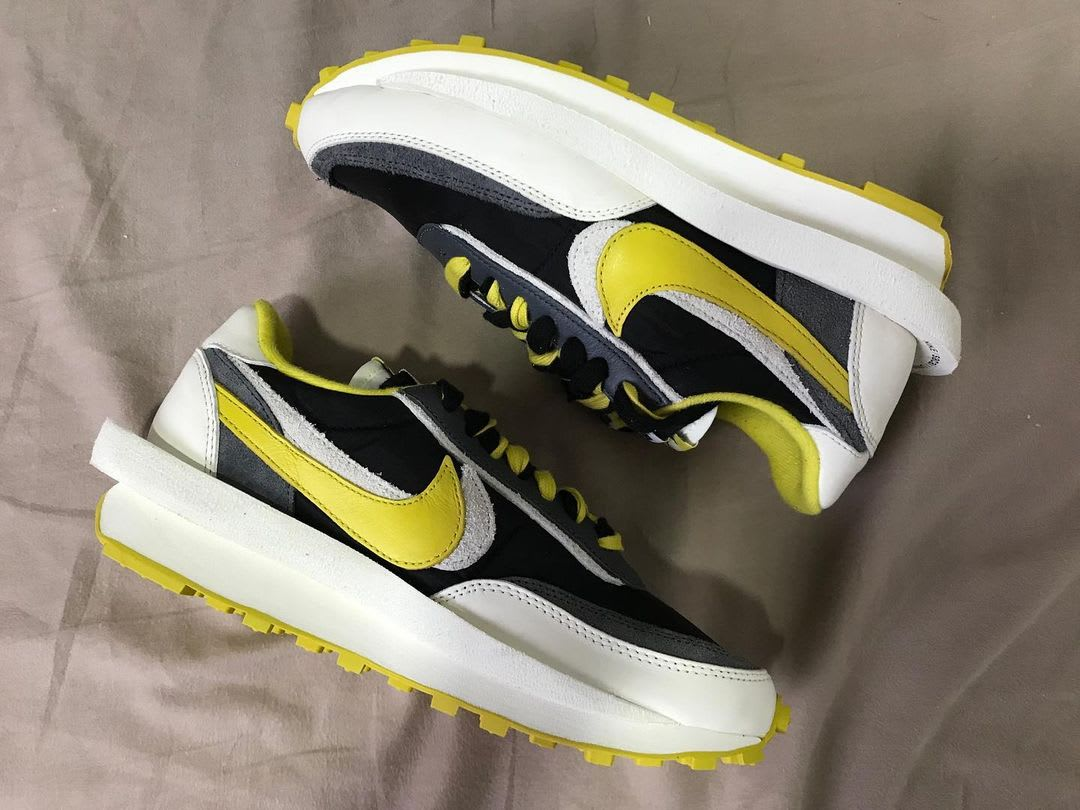 Undercover x Sacai x Nike LDWaffle 'Bright Citron' DJ4877-001 (Lateral and Medial)