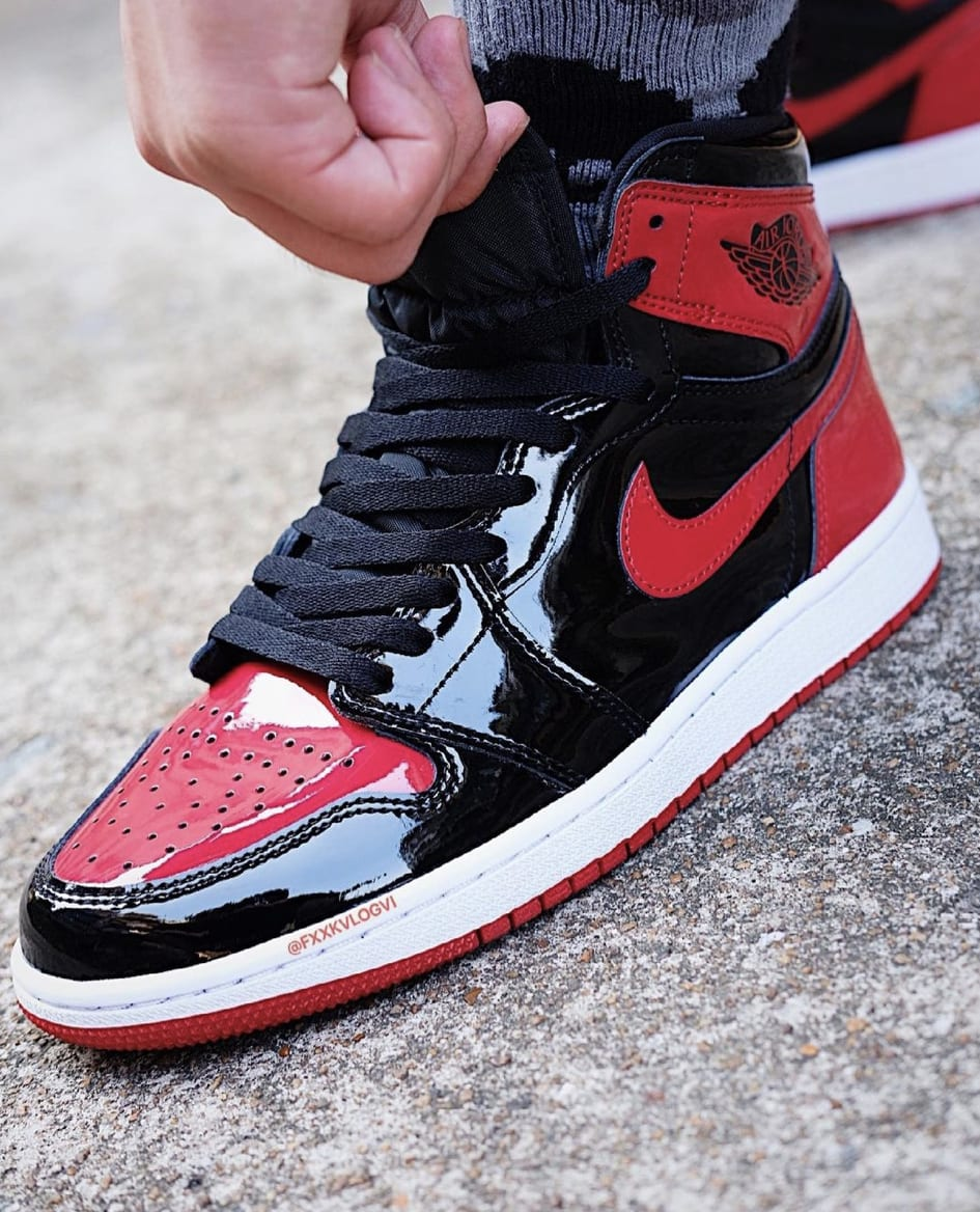 Air Jordan 1 Patent Bred Release Date On-Foot 555088-063 Front