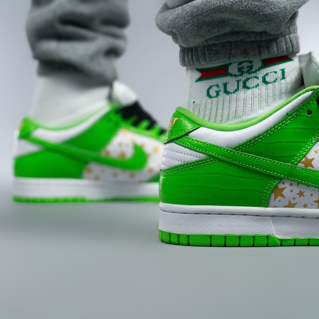 Supreme x Nike SB Dunk Low Green On-Foot Back