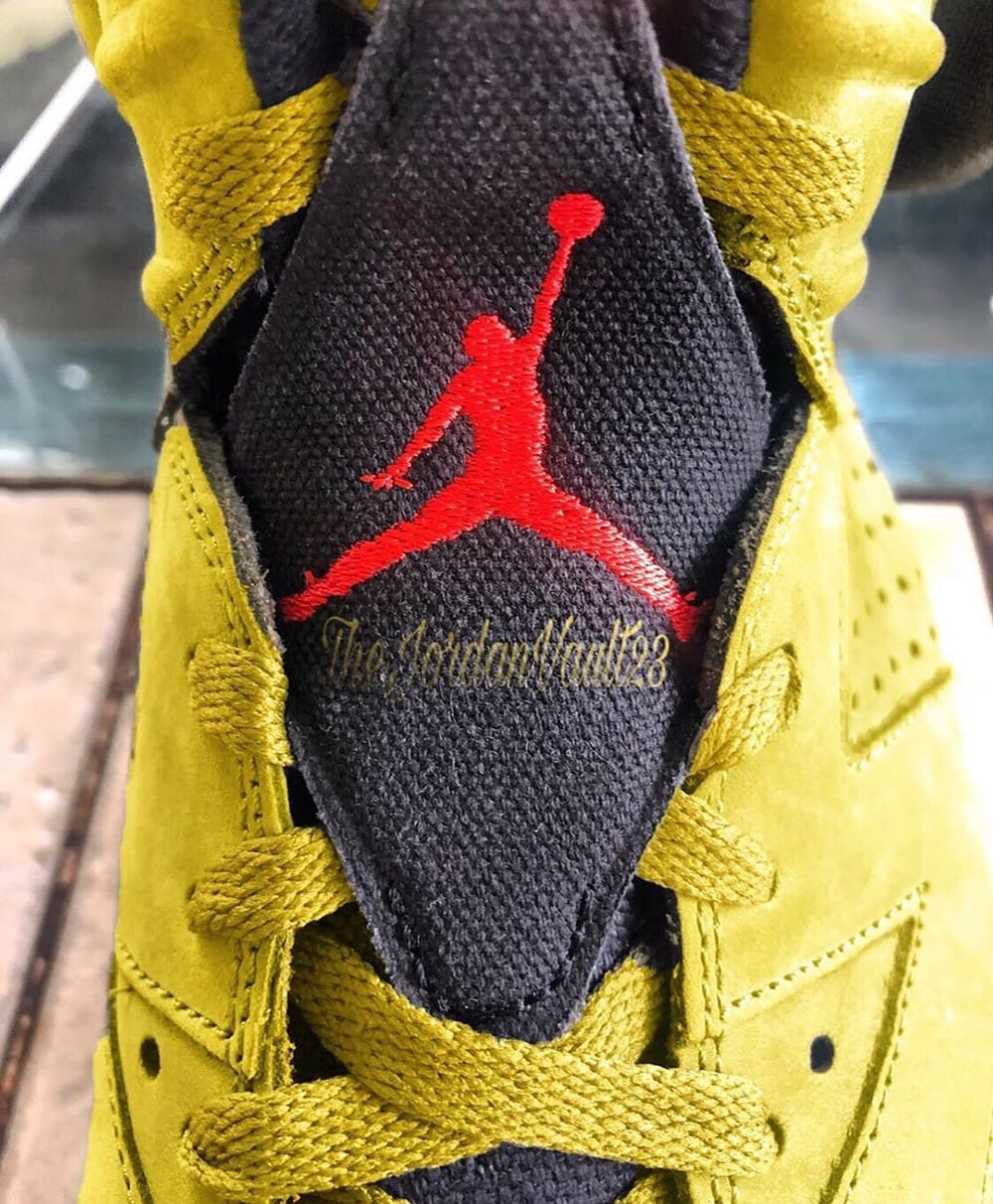 Travis Scott x Air Jordan 6 Mustard Release Date Tongue