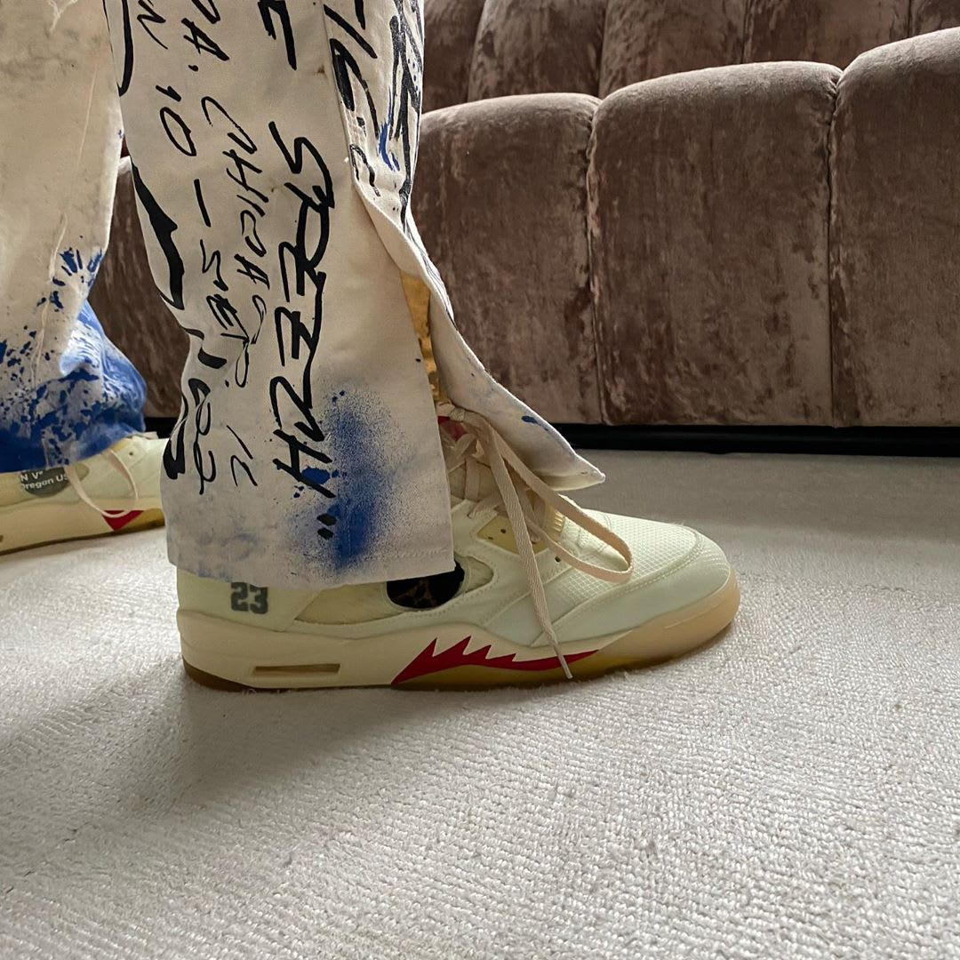 Off-White x Air Jordan 5 White/Red On-Foot